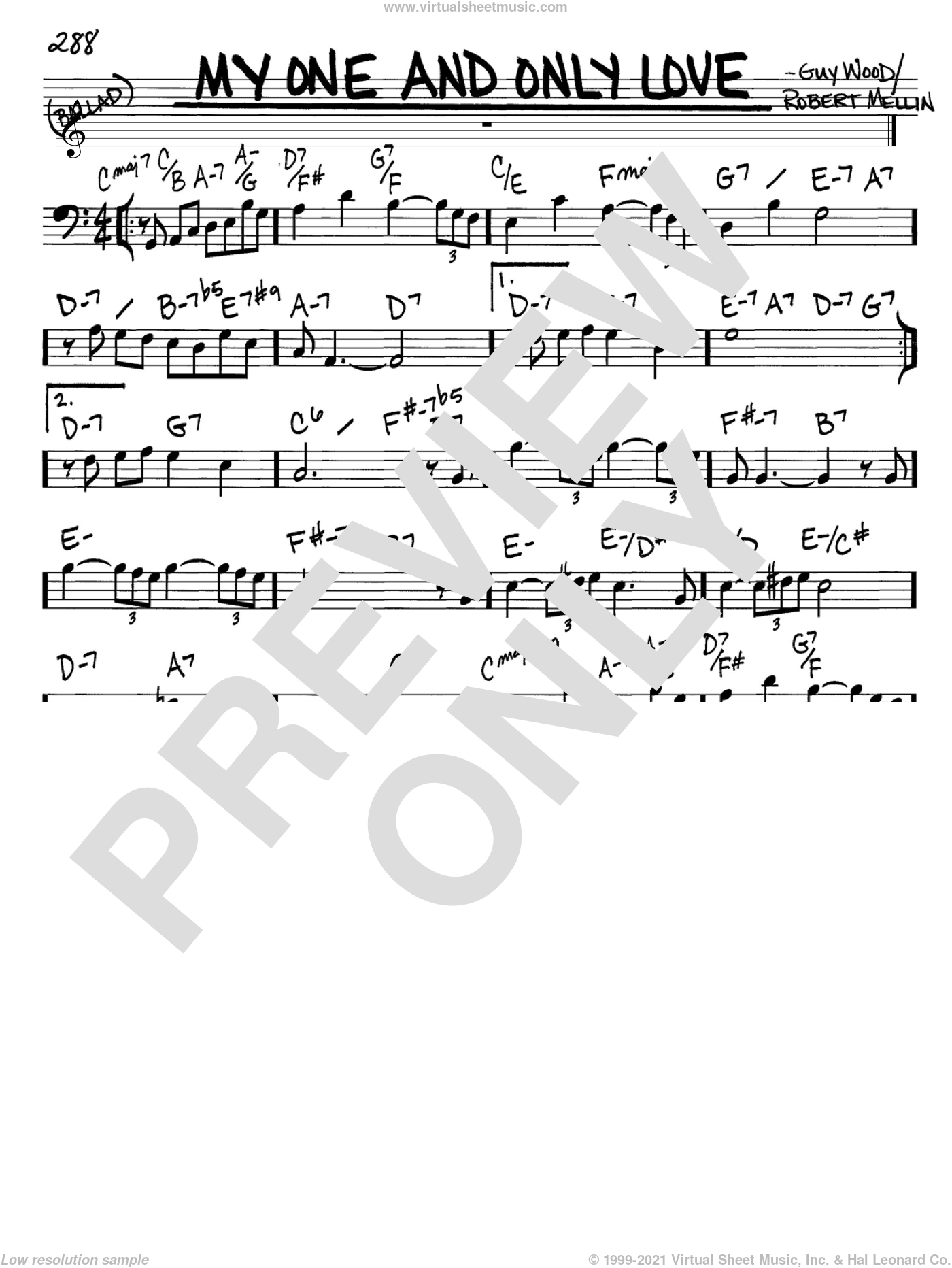 My One And Only Love sheet music for voice and other instruments (Bass Clef ) by Guy Wood and Robert Mellin. Score Image Preview.