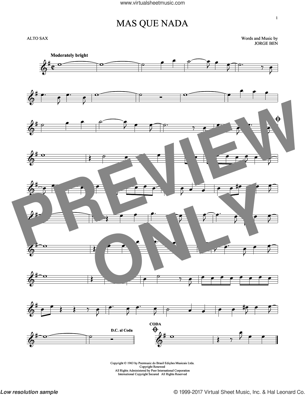 Mas Que Nada (Say No More) sheet music for alto saxophone solo by Sergio Mendes and Jorge Ben, intermediate. Score Image Preview.