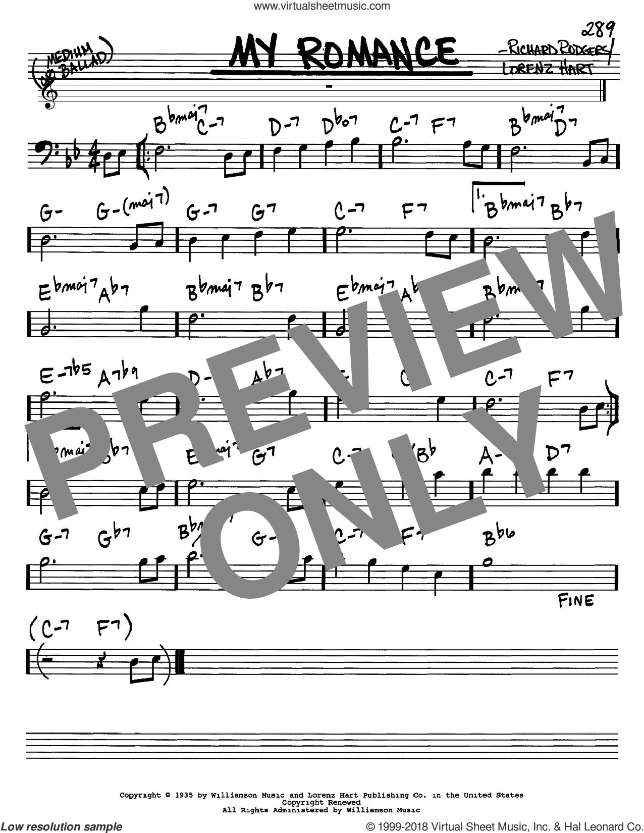 My Romance sheet music for voice and other instruments (Bass Clef ) by Richard Rodgers, Rodgers & Hart and Lorenz Hart. Score Image Preview.