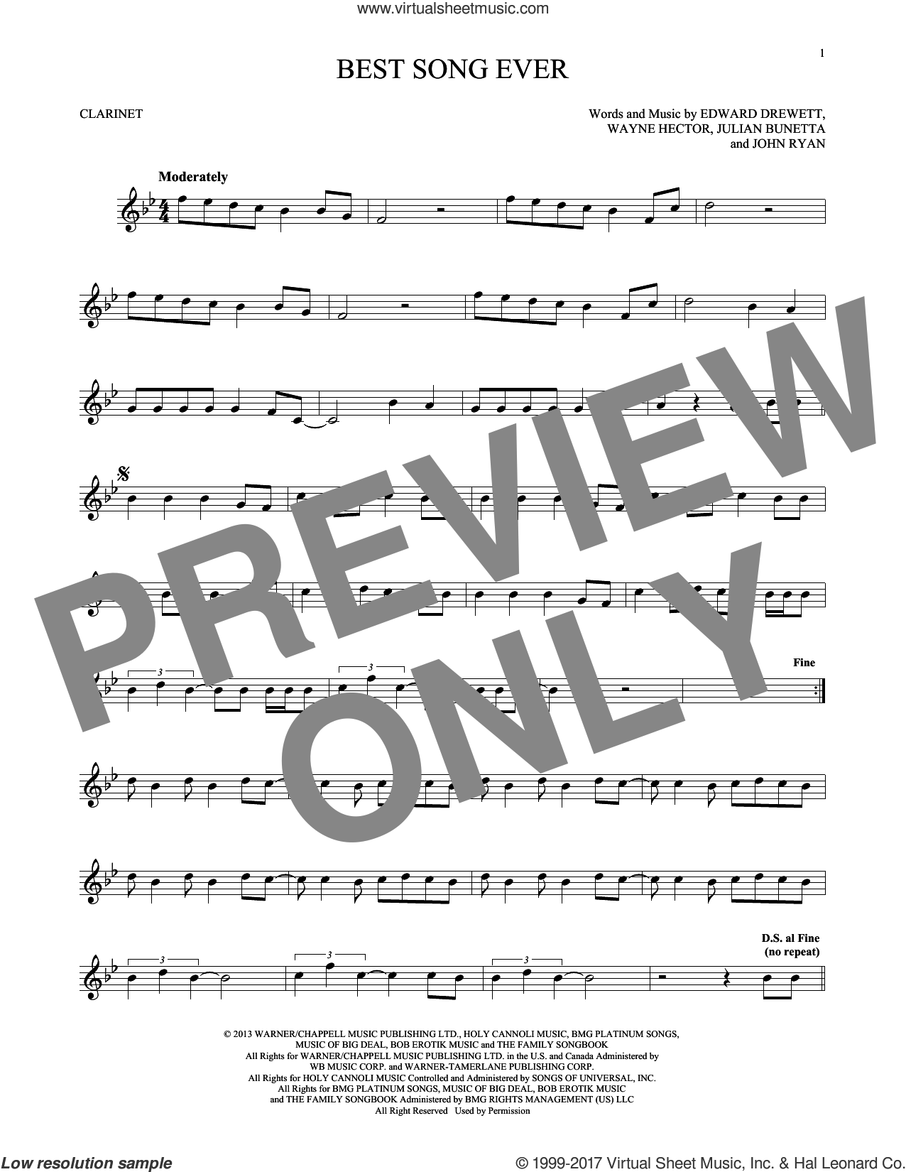 Best Song Ever sheet music for clarinet solo by One Direction, Edward Drewett, John Ryan, Julian Bunetta and Wayne Hector, intermediate skill level