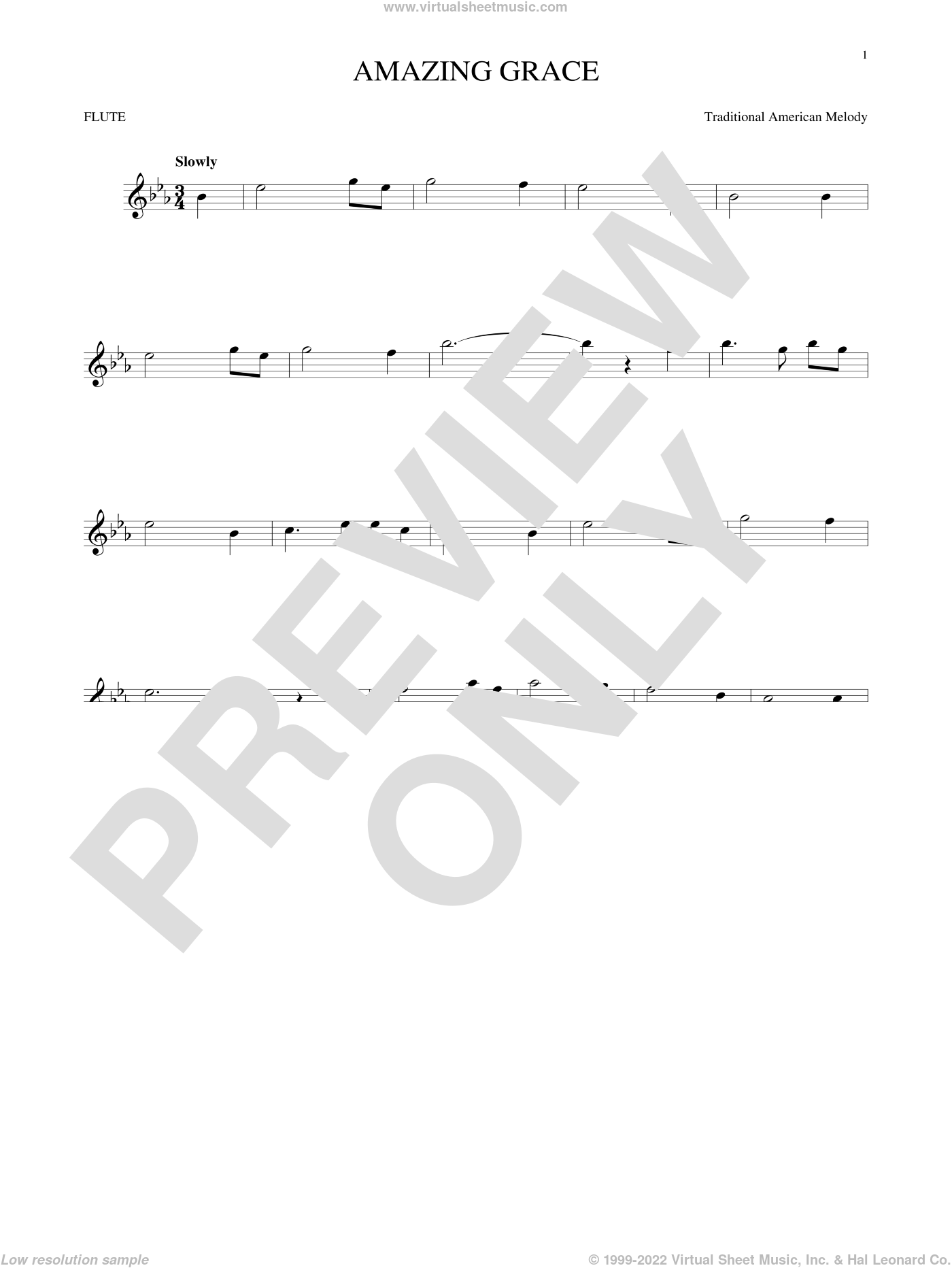Amazing Grace sheet music for flute solo by John Newton, Miscellaneous and Edwin O. Excell, intermediate skill level