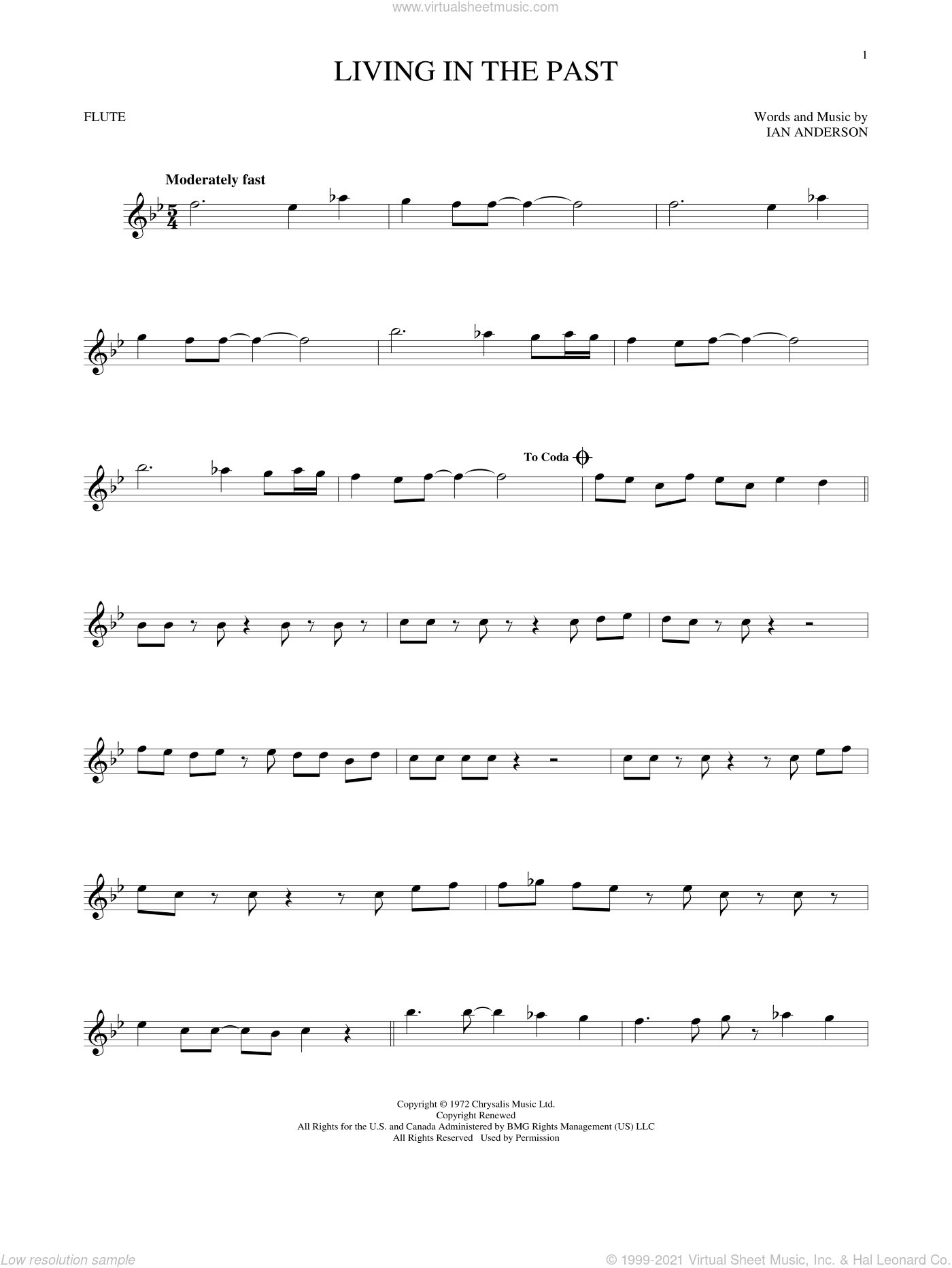 Living In The Past sheet music for flute solo by Jethro Tull and Ian Anderson, intermediate. Score Image Preview.