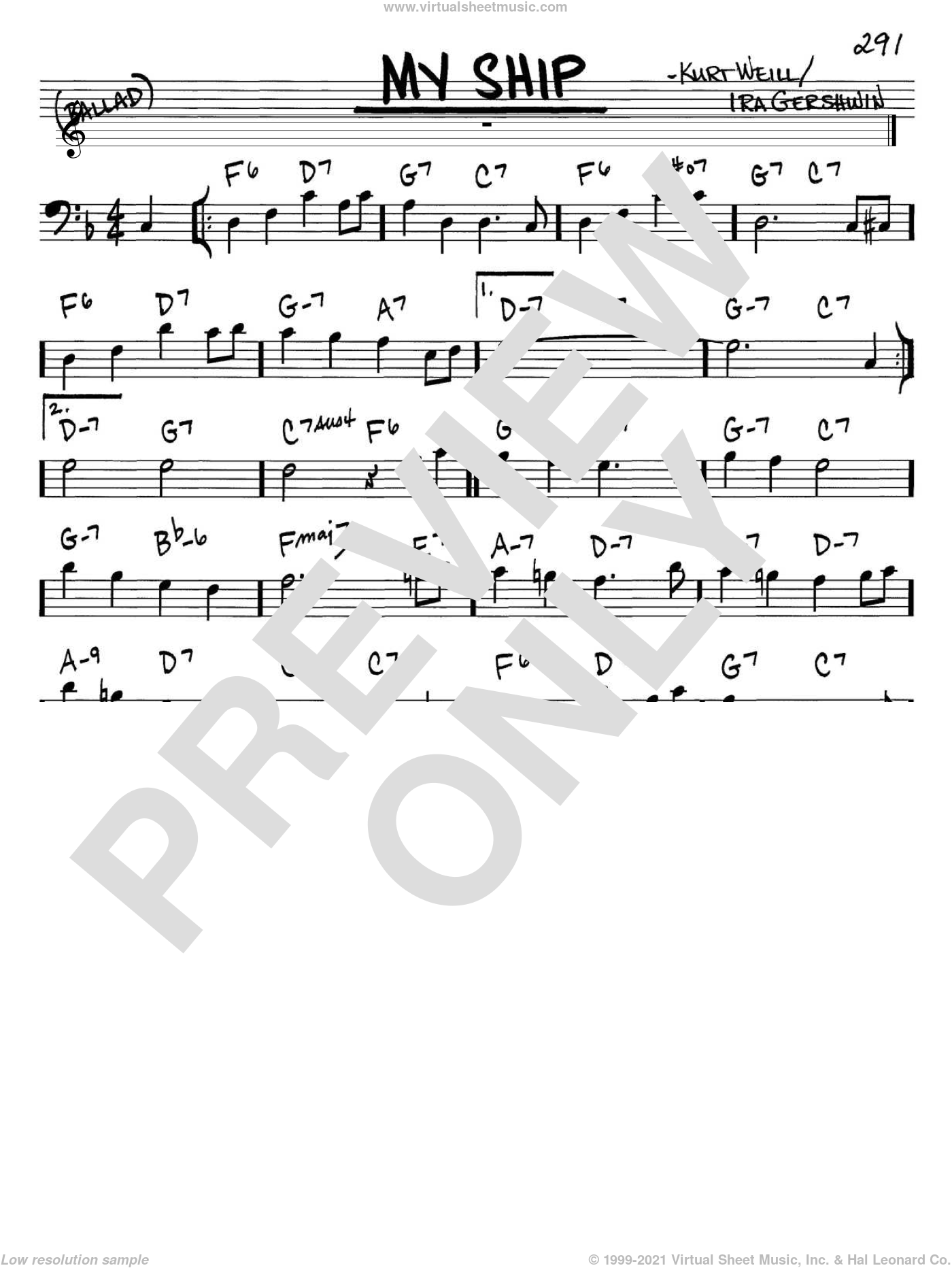 My Ship sheet music for voice and other instruments (Bass Clef ) by Ira Gershwin and Kurt Weill. Score Image Preview.
