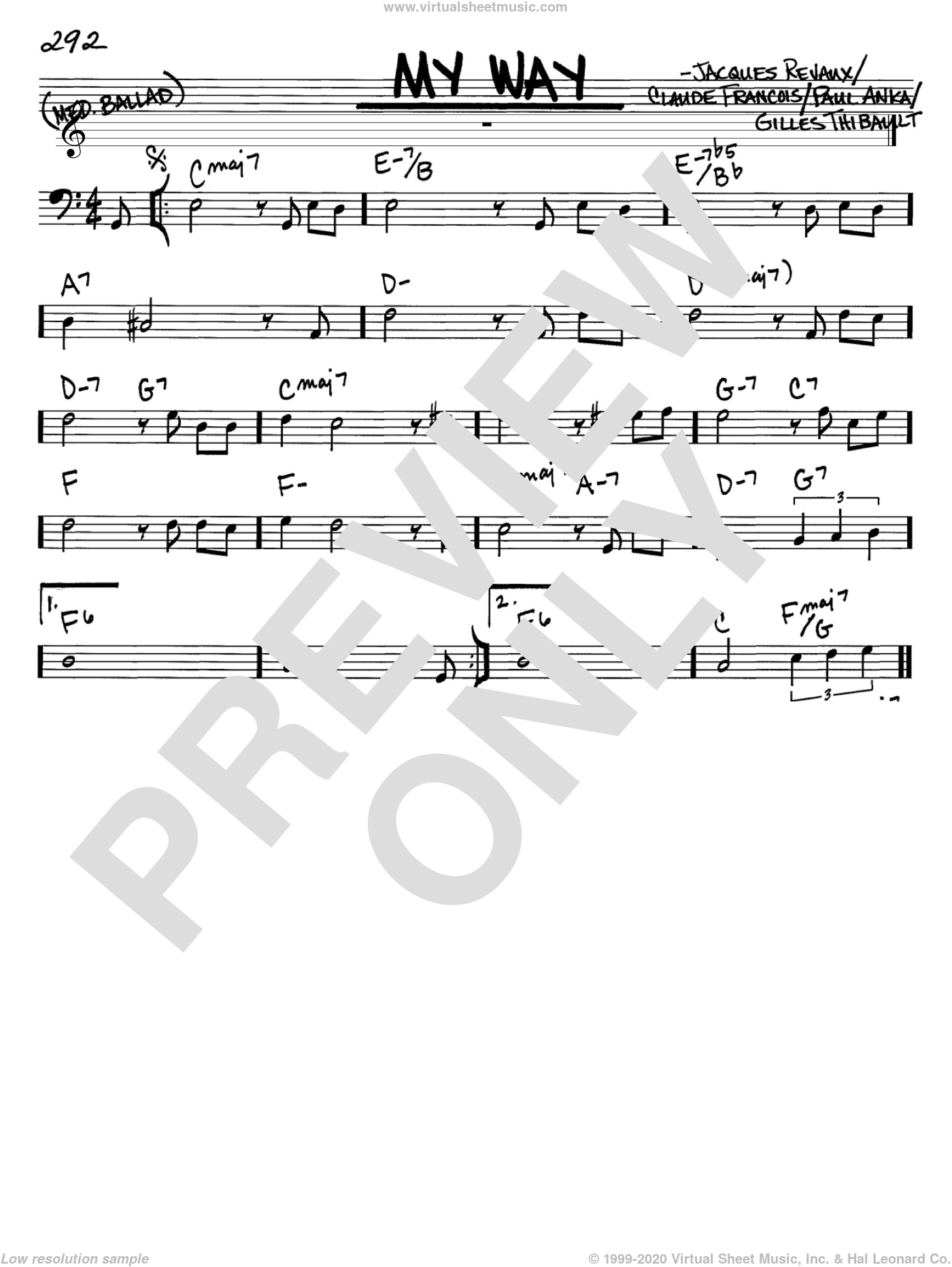 My Way sheet music for voice and other instruments (Bass Clef ) by Jacques Revaux, Elvis Presley, Frank Sinatra, Claude Francois and Paul Anka. Score Image Preview.