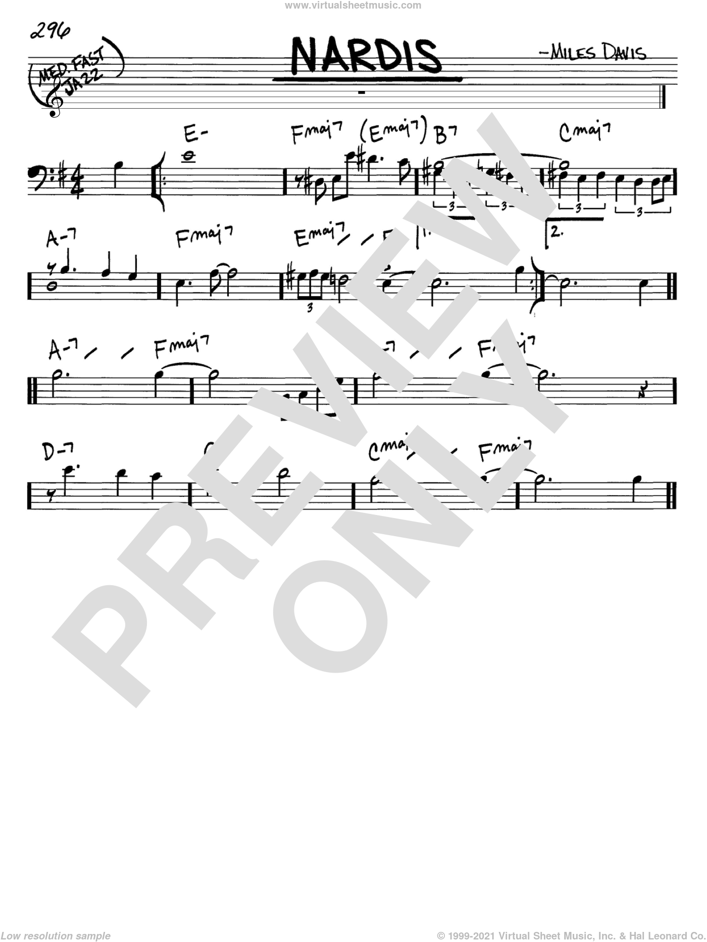 Nardis sheet music for voice and other instruments (bass clef) by Miles Davis and Bill Evans, intermediate. Score Image Preview.