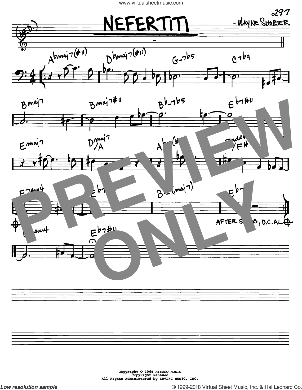 Nefertiti sheet music for voice and other instruments (Bass Clef ) by Wayne Shorter. Score Image Preview.