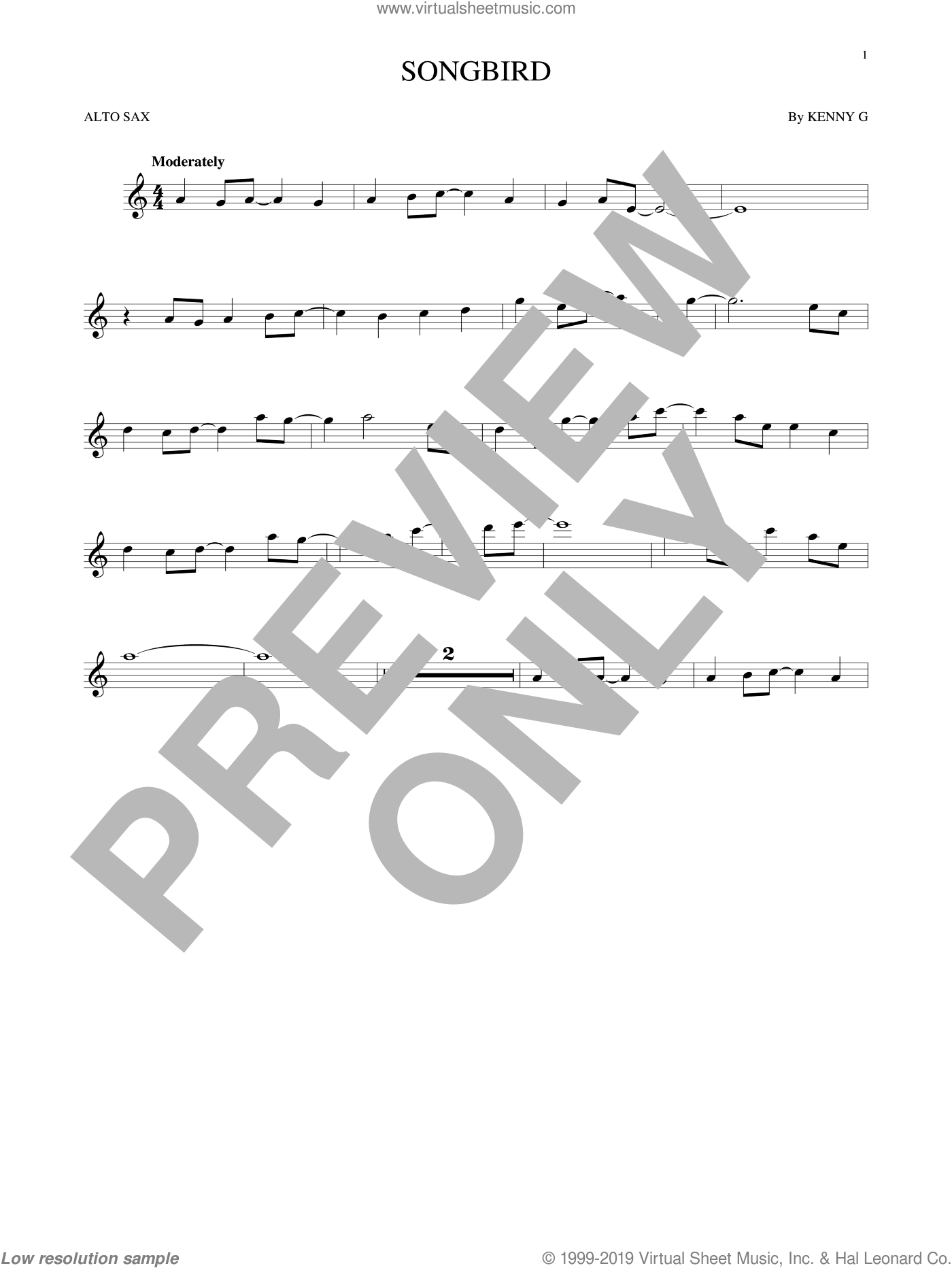 Songbird sheet music for alto saxophone solo by Kenny G, intermediate skill level