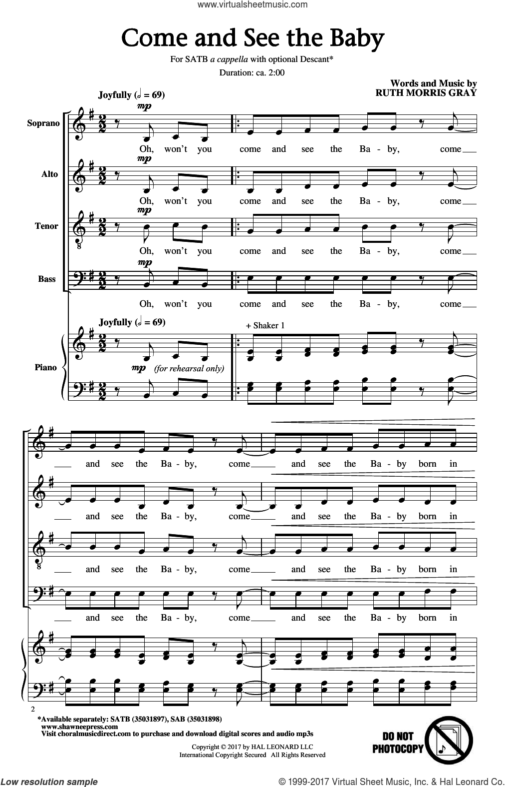 Come And See The Baby sheet music for choir (SATB: soprano, alto, tenor, bass) by Ruth Morris Gray, intermediate skill level