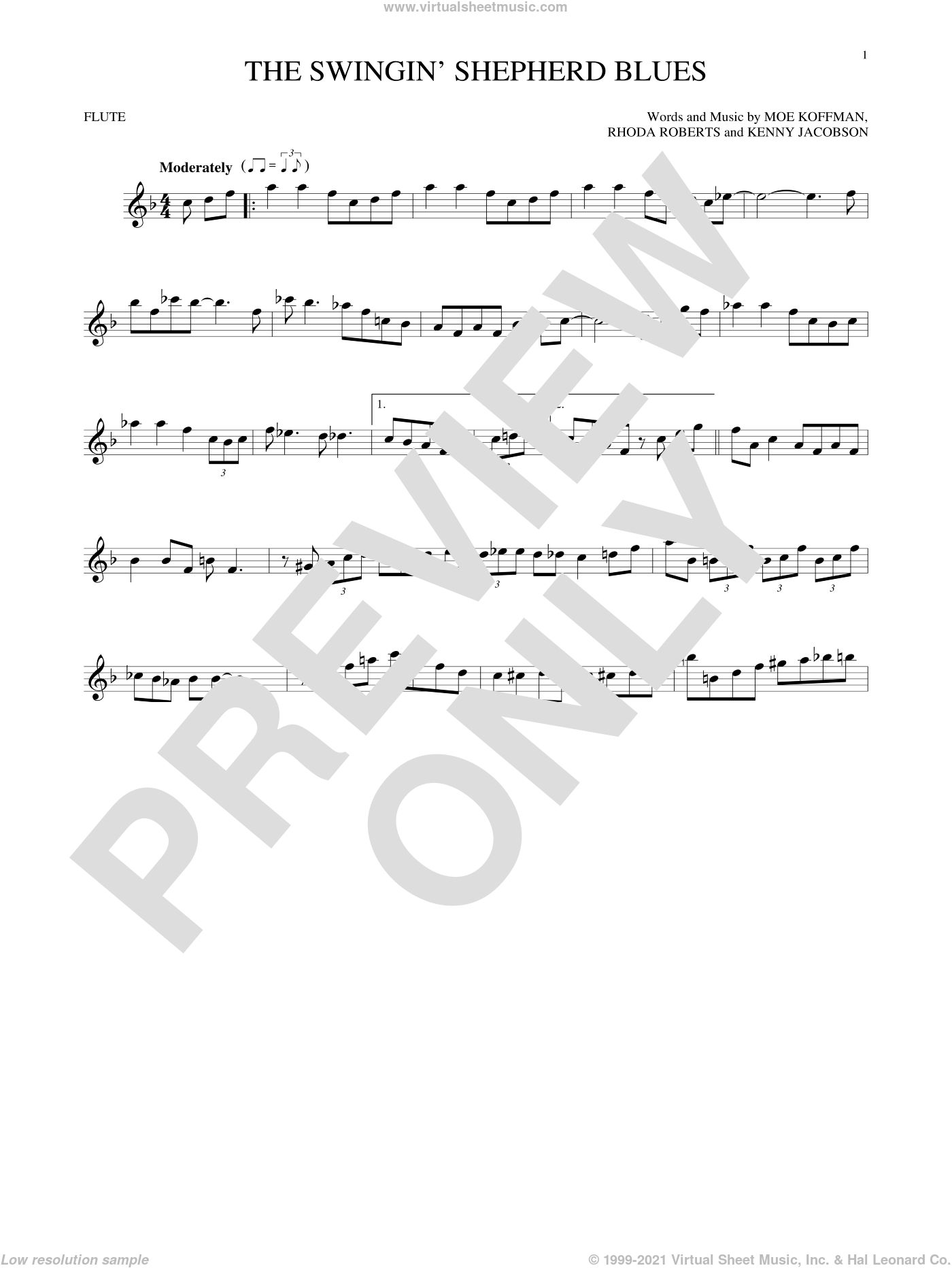 The Swingin' Shepherd Blues sheet music for flute solo by Moe Koffman, Kenny Jacobson and Rhoda Roberts, intermediate skill level