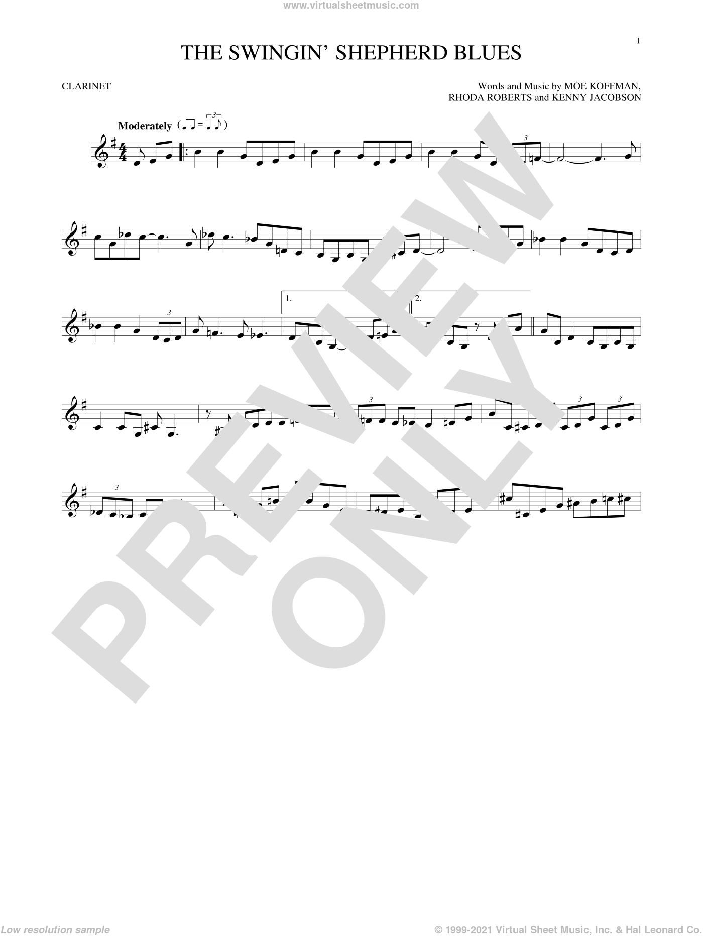 The Swingin' Shepherd Blues sheet music for clarinet solo by Moe Koffman, Kenny Jacobson and Rhoda Roberts, intermediate skill level