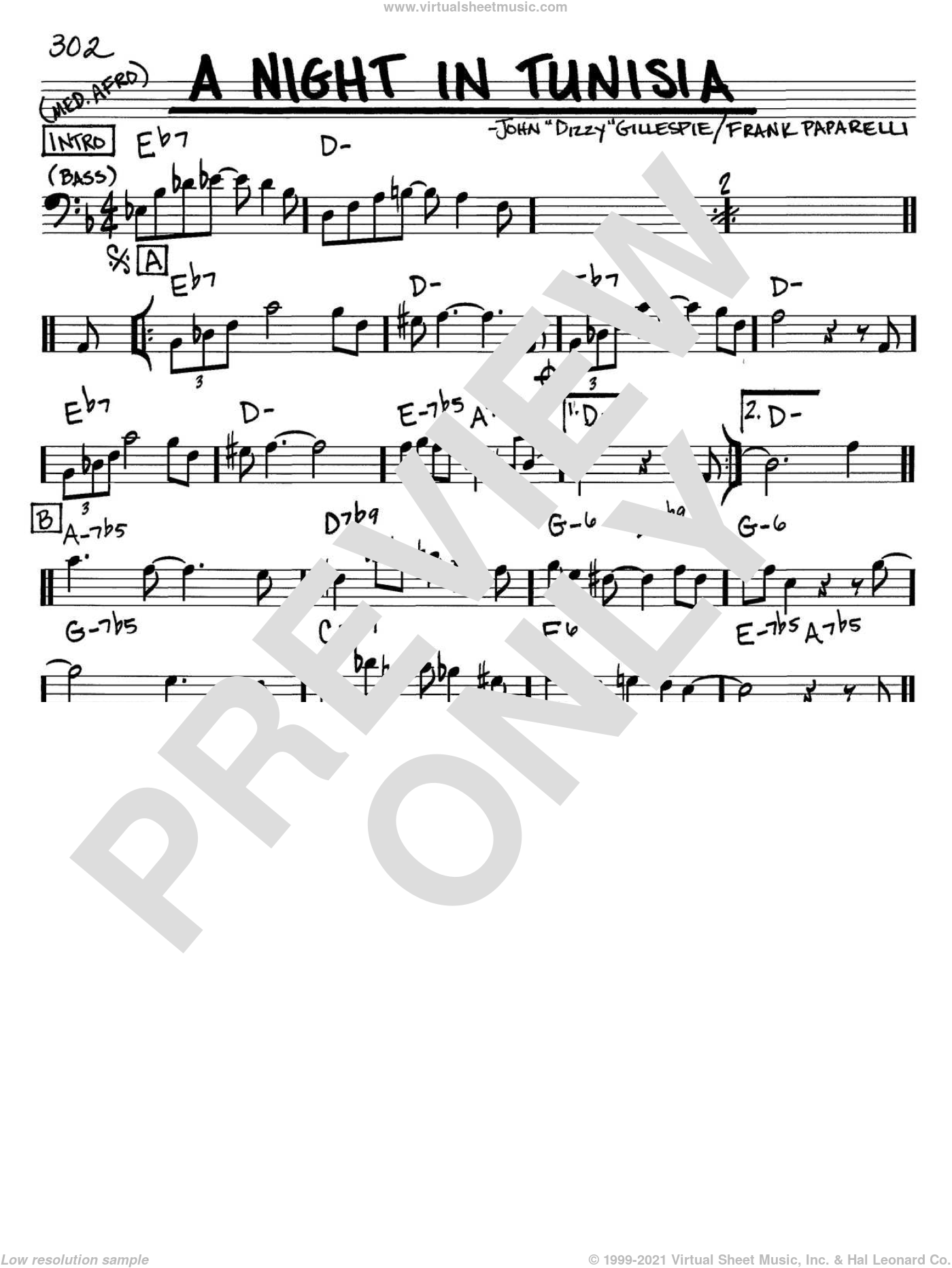 A Night In Tunisia sheet music for voice and other instruments (Bass Clef ) by Frank Paparelli and Dizzy Gillespie. Score Image Preview.