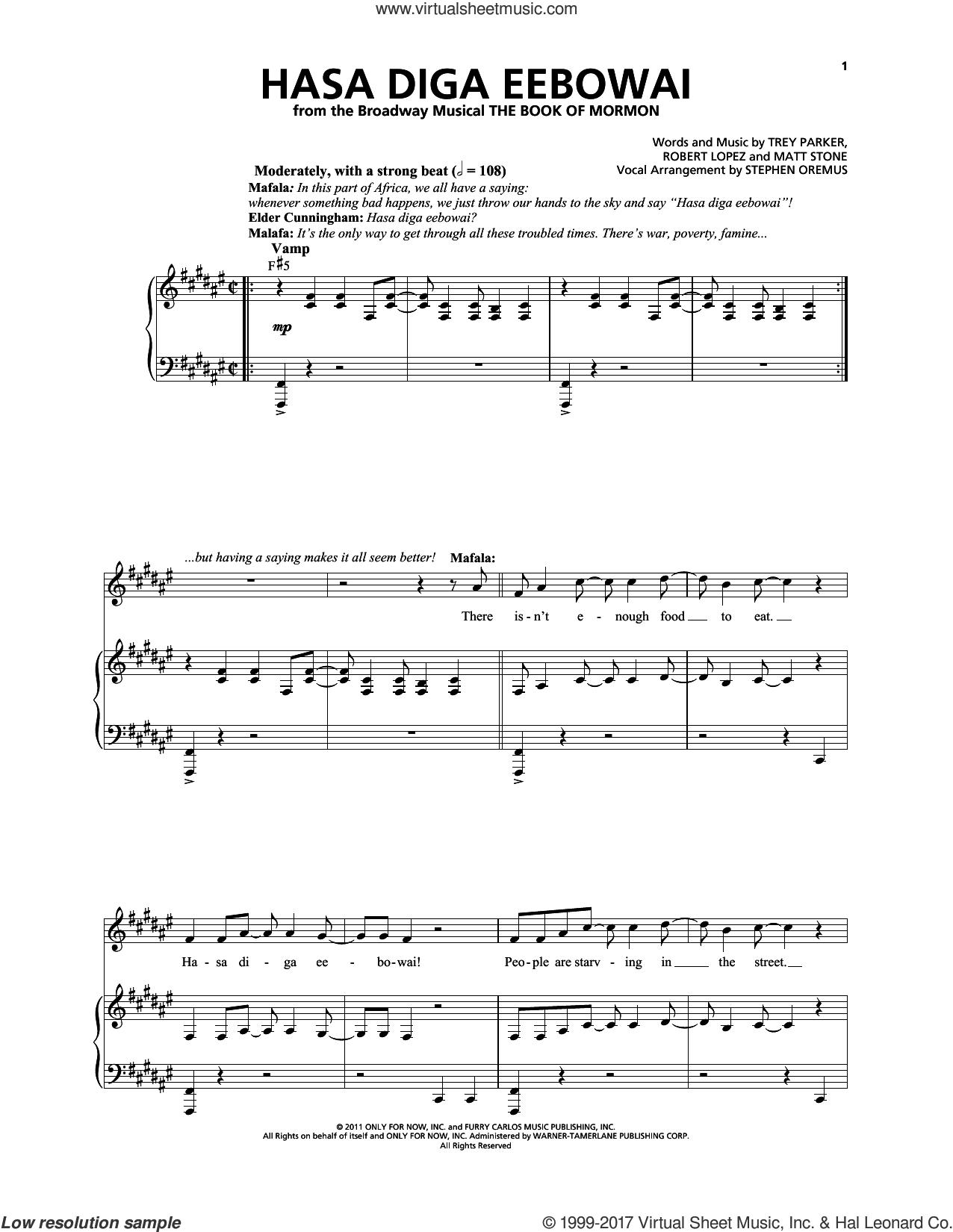 Hasa Diga Eebowai sheet music for voice and piano by Robert Lopez, Matthew Stone, Stephen Oremus, Trey Parker and Trey Parker & Matt Stone, intermediate skill level