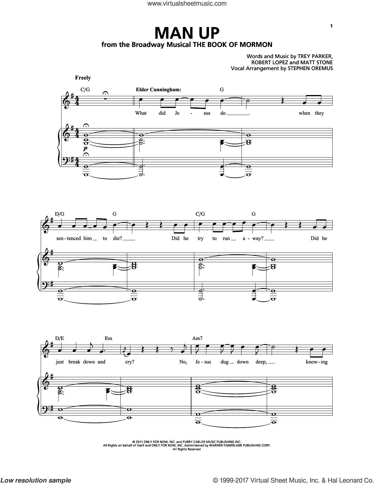 Man Up sheet music for voice and piano by Robert Lopez, Matthew Stone, Stephen Oremus, Trey Parker and Trey Parker & Matt Stone, intermediate skill level