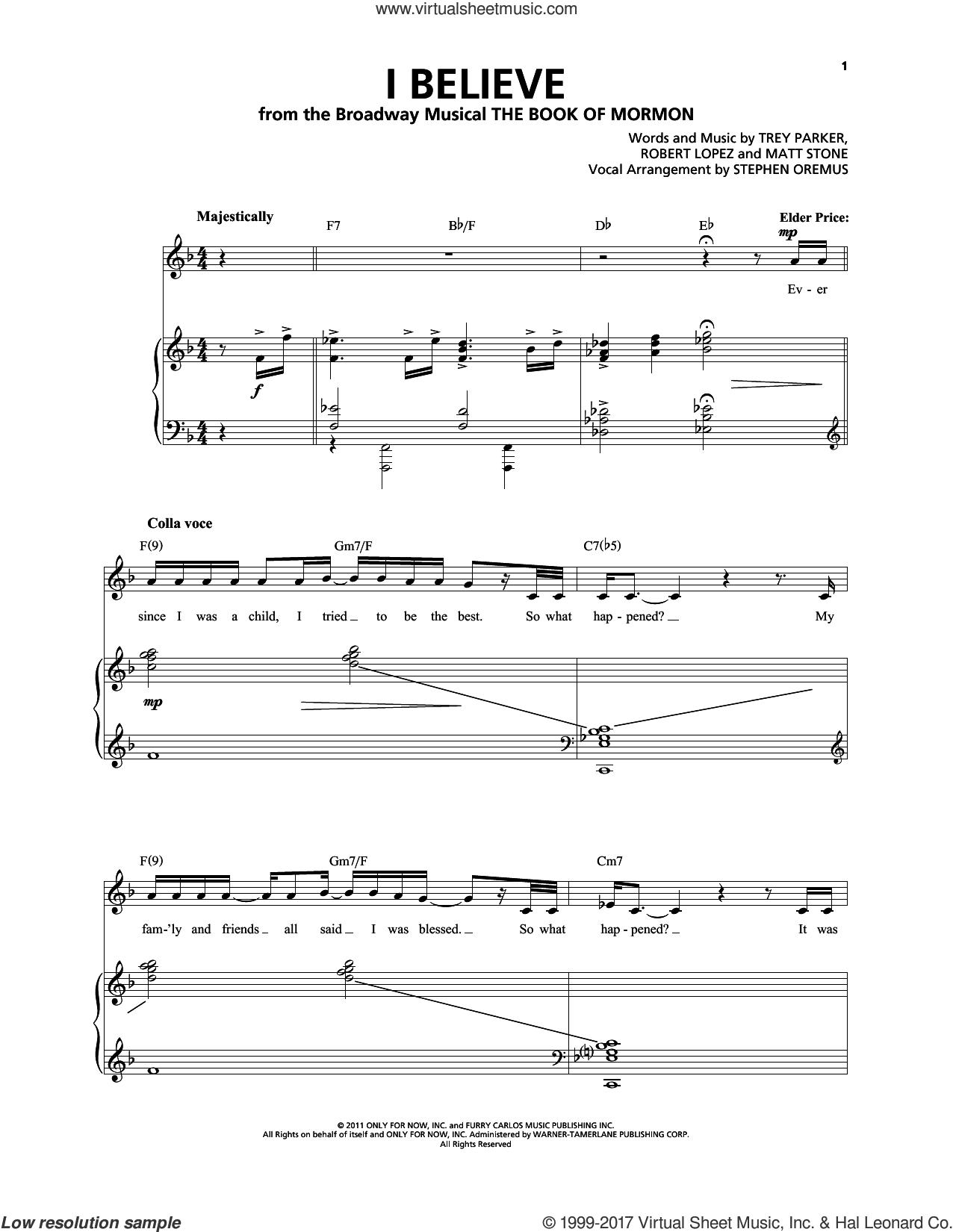 I Believe sheet music for voice and piano by Robert Lopez, Matt Stone, Trey Parker and Trey Parker & Matt Stone, intermediate skill level