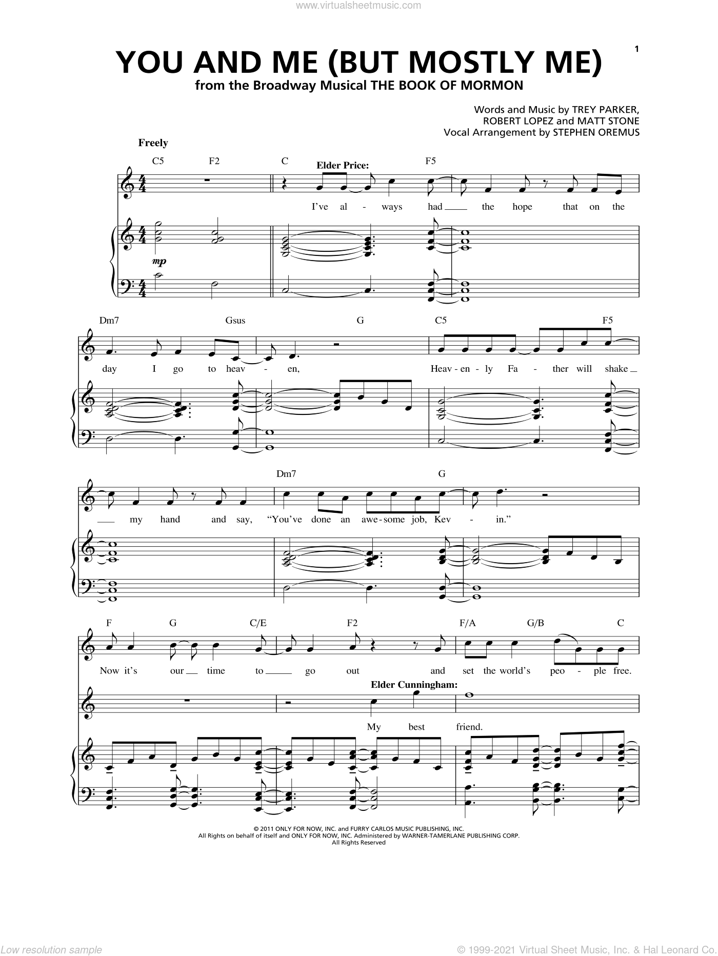 You And Me (But Mostly Me) sheet music for voice and piano by Robert Lopez, Matt Stone, Trey Parker and Trey Parker & Matt Stone, intermediate skill level