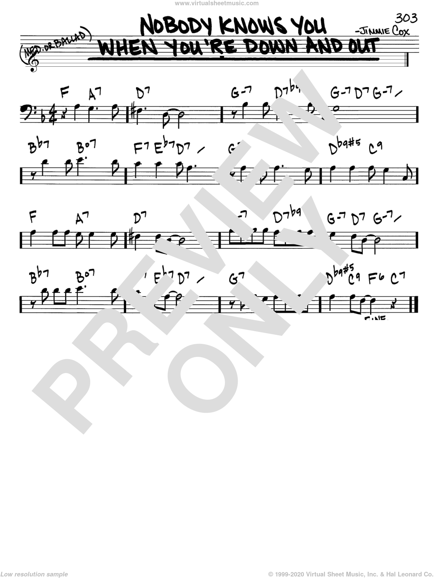 Nobody Knows You When You're Down And Out sheet music for voice and other instruments (bass clef) by Jimmie Cox, intermediate skill level