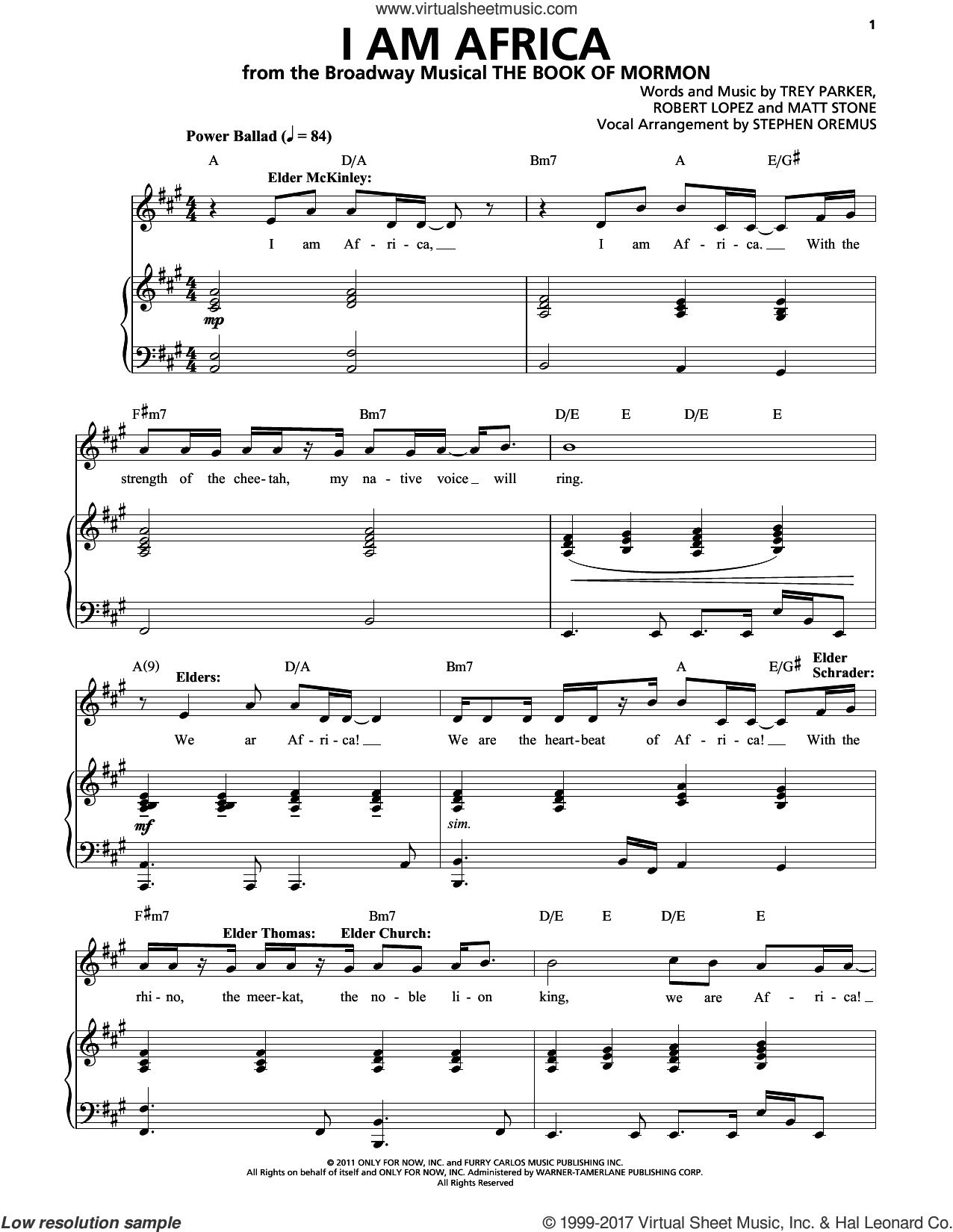 Stone - I Am Africa sheet music for voice and piano [PDF]