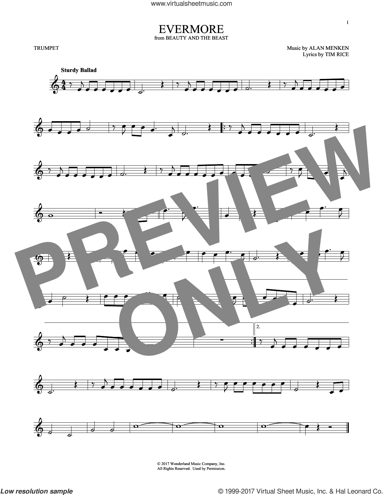 Evermore sheet music for trumpet solo by Josh Groban, Alan Menken and Tim Rice, intermediate. Score Image Preview.