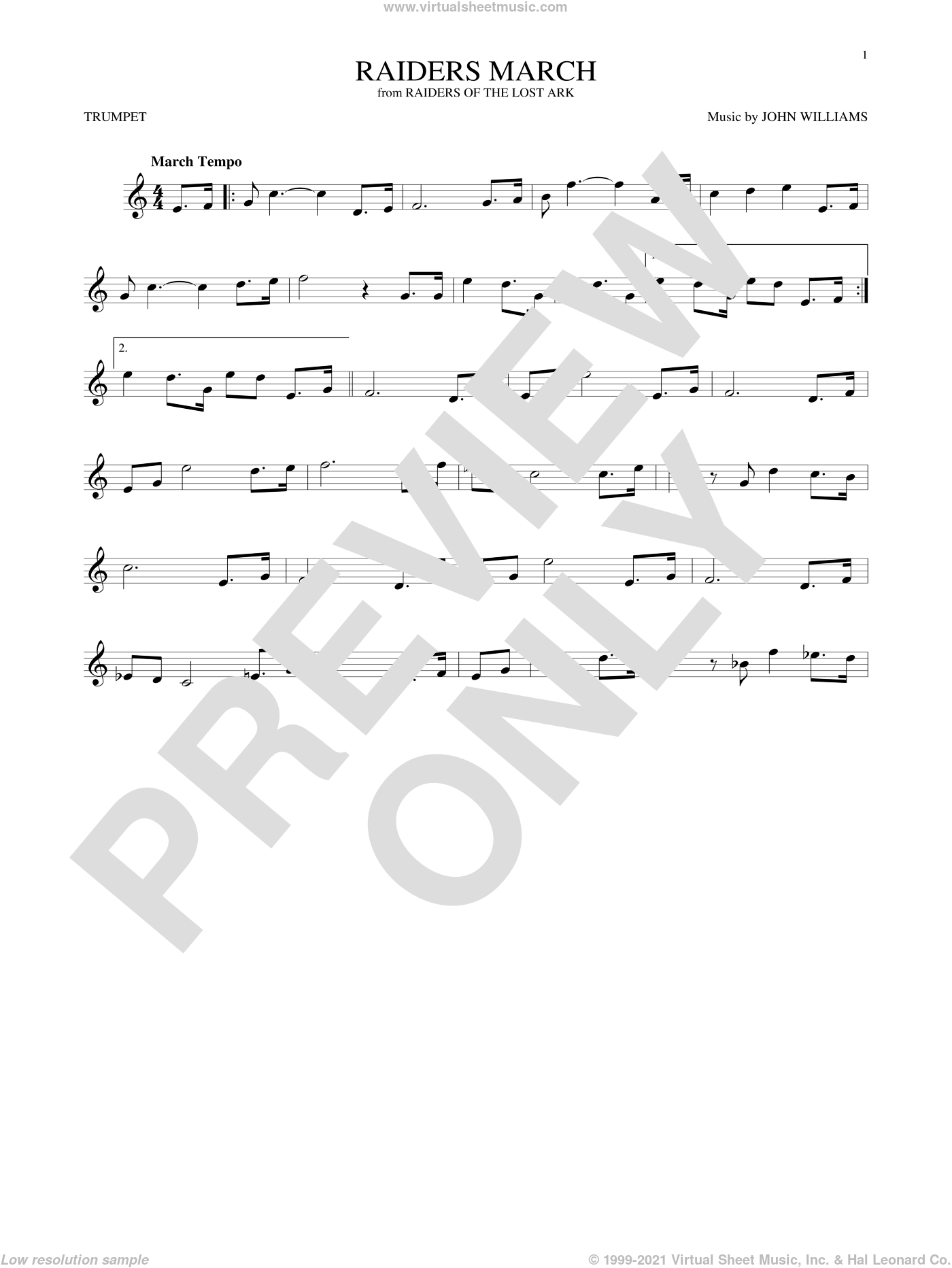 Raiders March sheet music for trumpet solo by John Williams, intermediate skill level