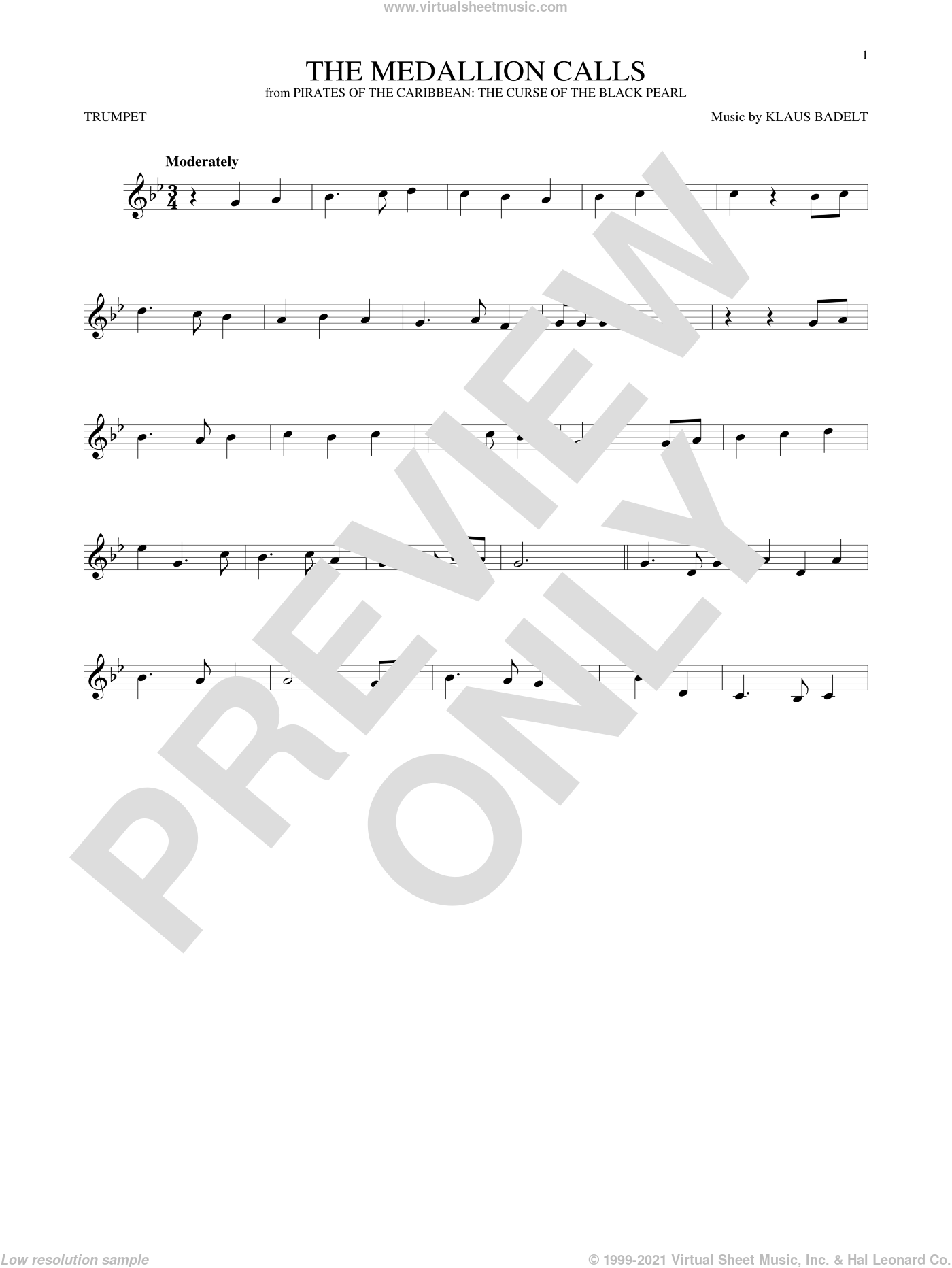 The Medallion Calls sheet music for trumpet solo by Klaus Badelt, classical score, intermediate skill level