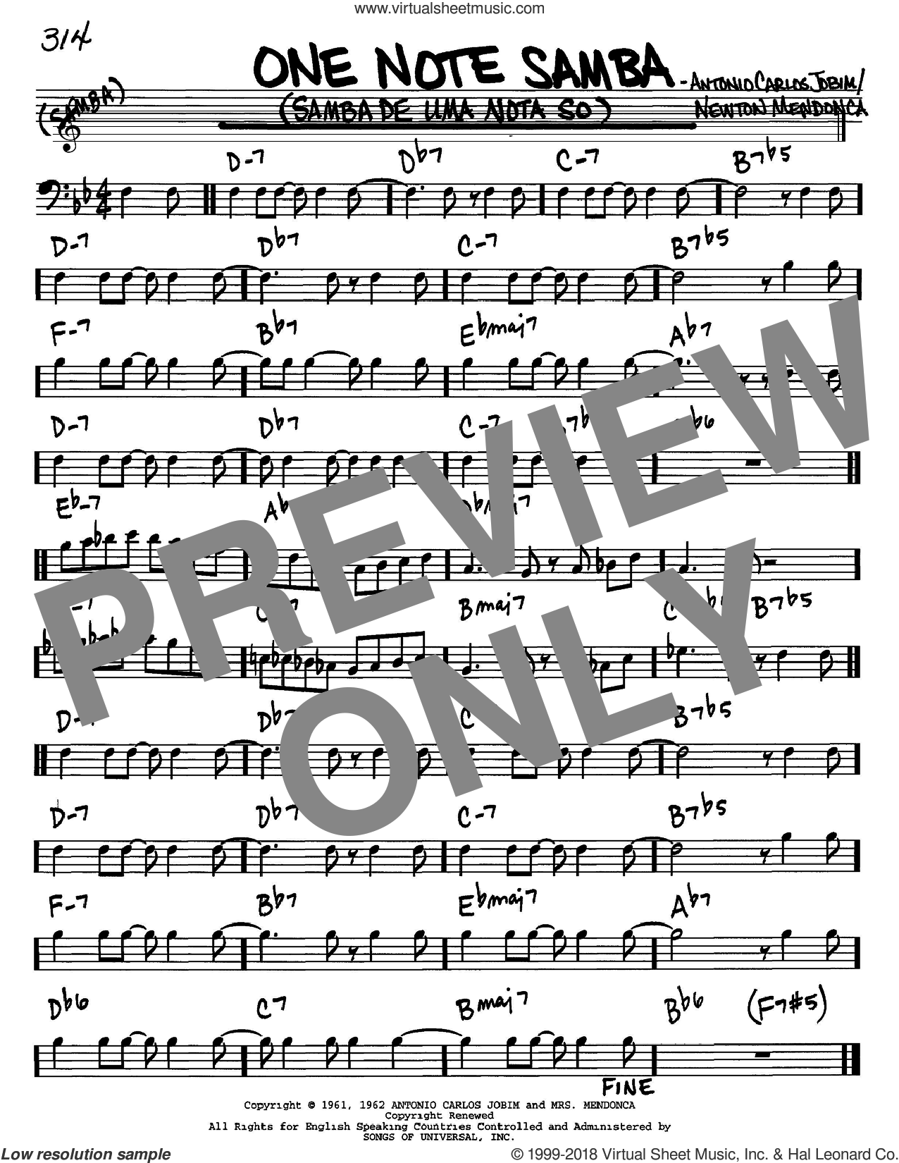 One Note Samba (Samba De Uma Nota So) sheet music for voice and other instruments (Bass Clef ) by Antonio Carlos Jobim, intermediate voice. Score Image Preview.