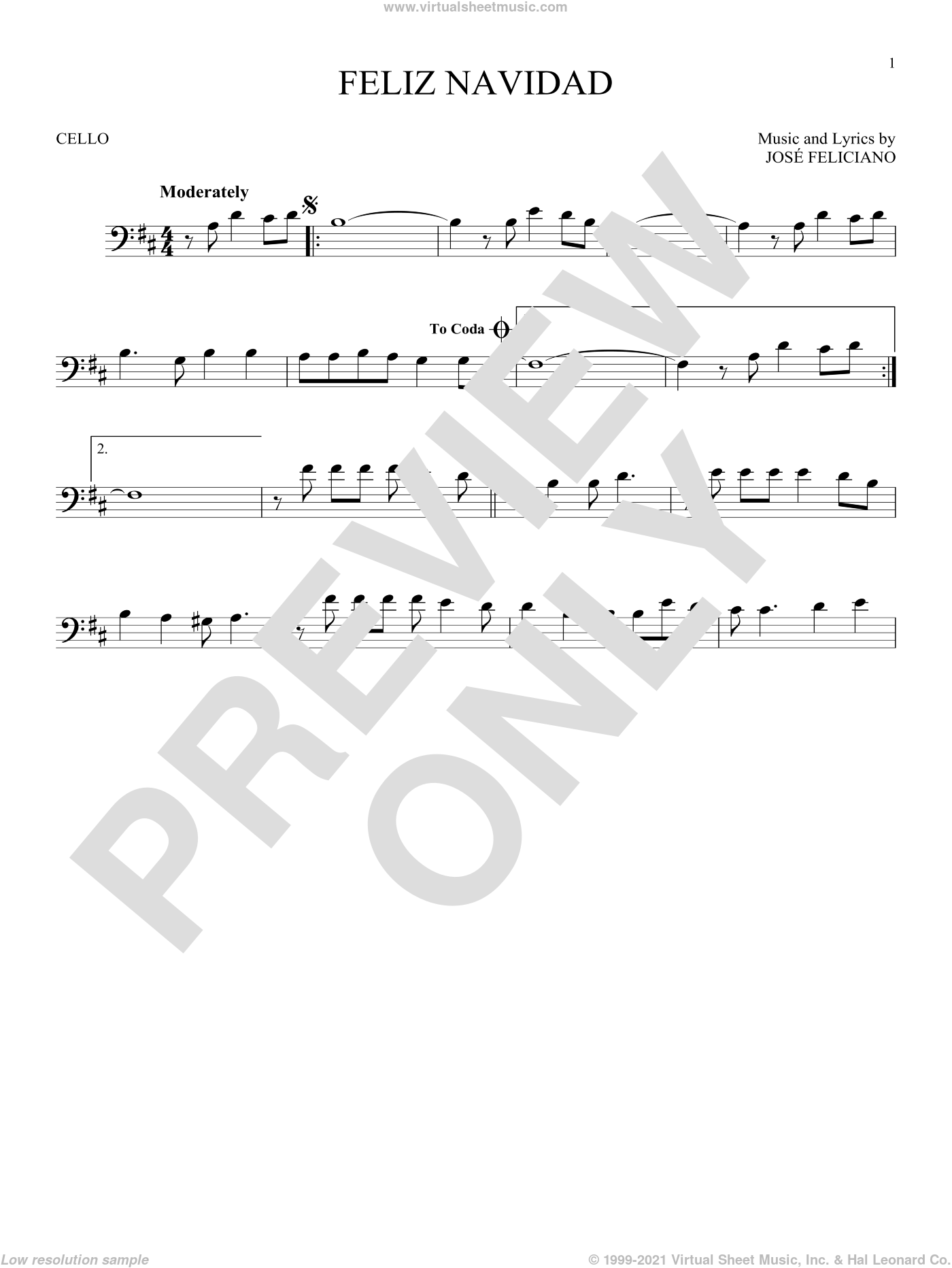 Feliz Navidad sheet music for cello solo by Jose Feliciano, intermediate skill level