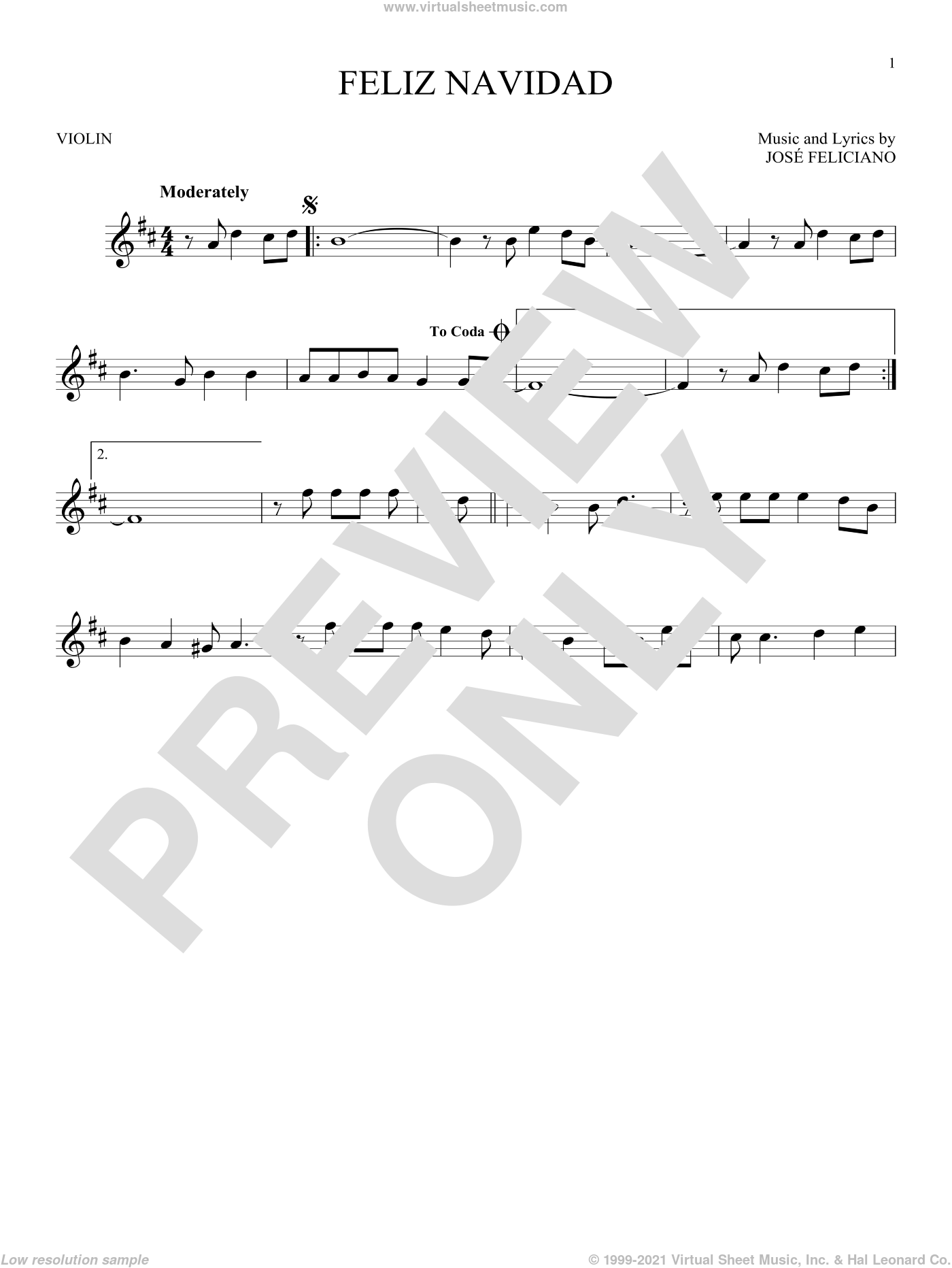 Feliz Navidad sheet music for violin solo by Jose Feliciano, intermediate