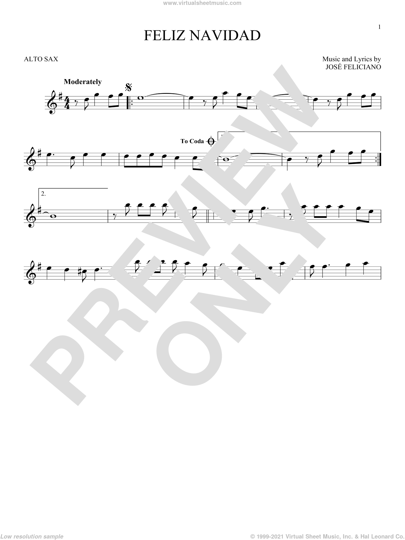 Feliz Navidad sheet music for alto saxophone solo by Jose Feliciano, intermediate