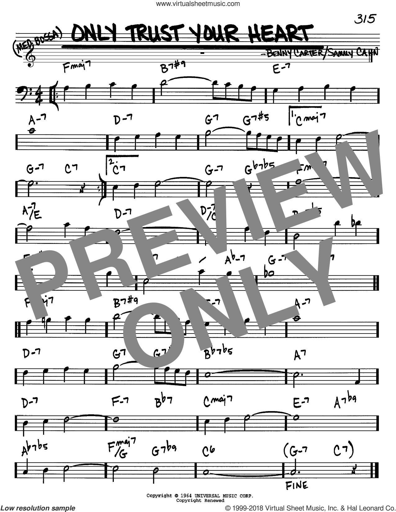 Only Trust Your Heart sheet music for voice and other instruments (Bass Clef ) by Benny Carter and Sammy Cahn