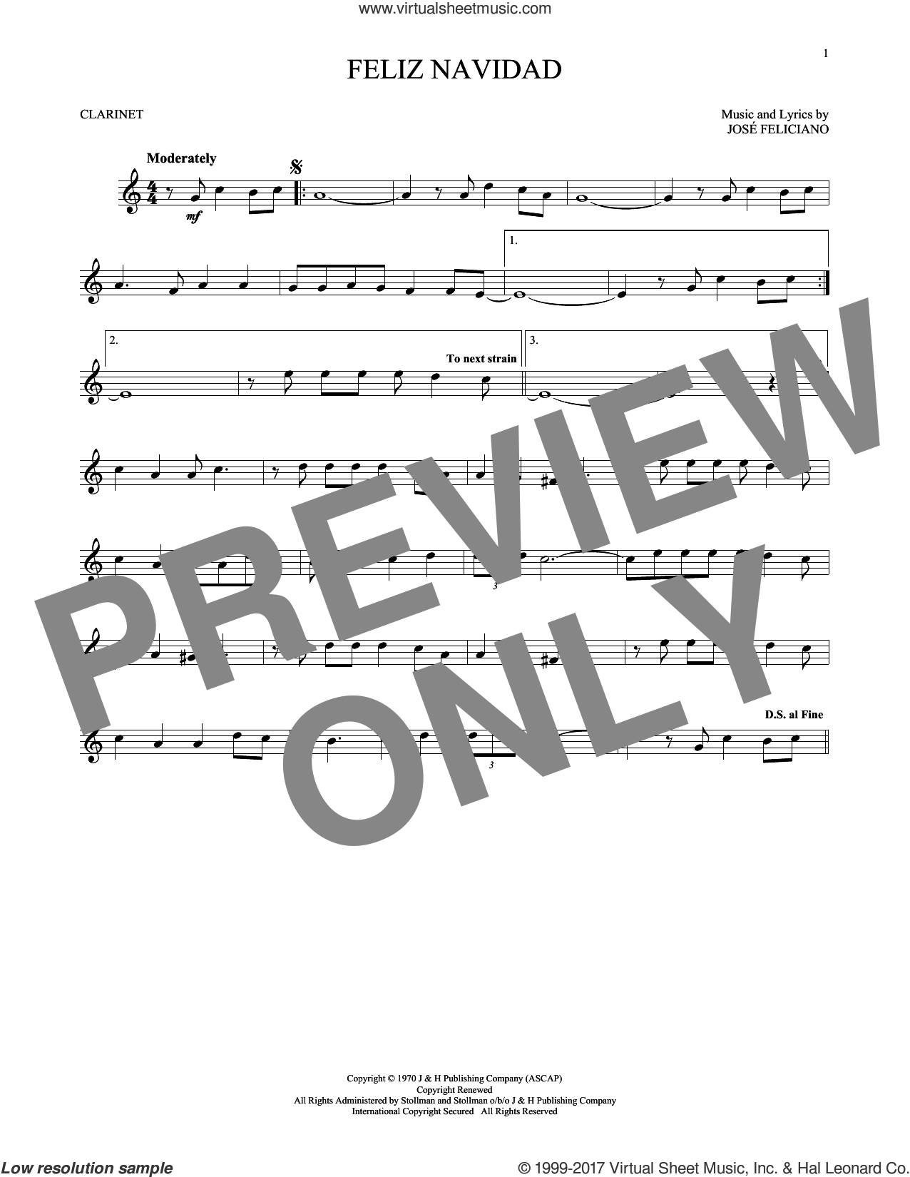 Feliz Navidad sheet music for clarinet solo by Jose Feliciano, intermediate skill level