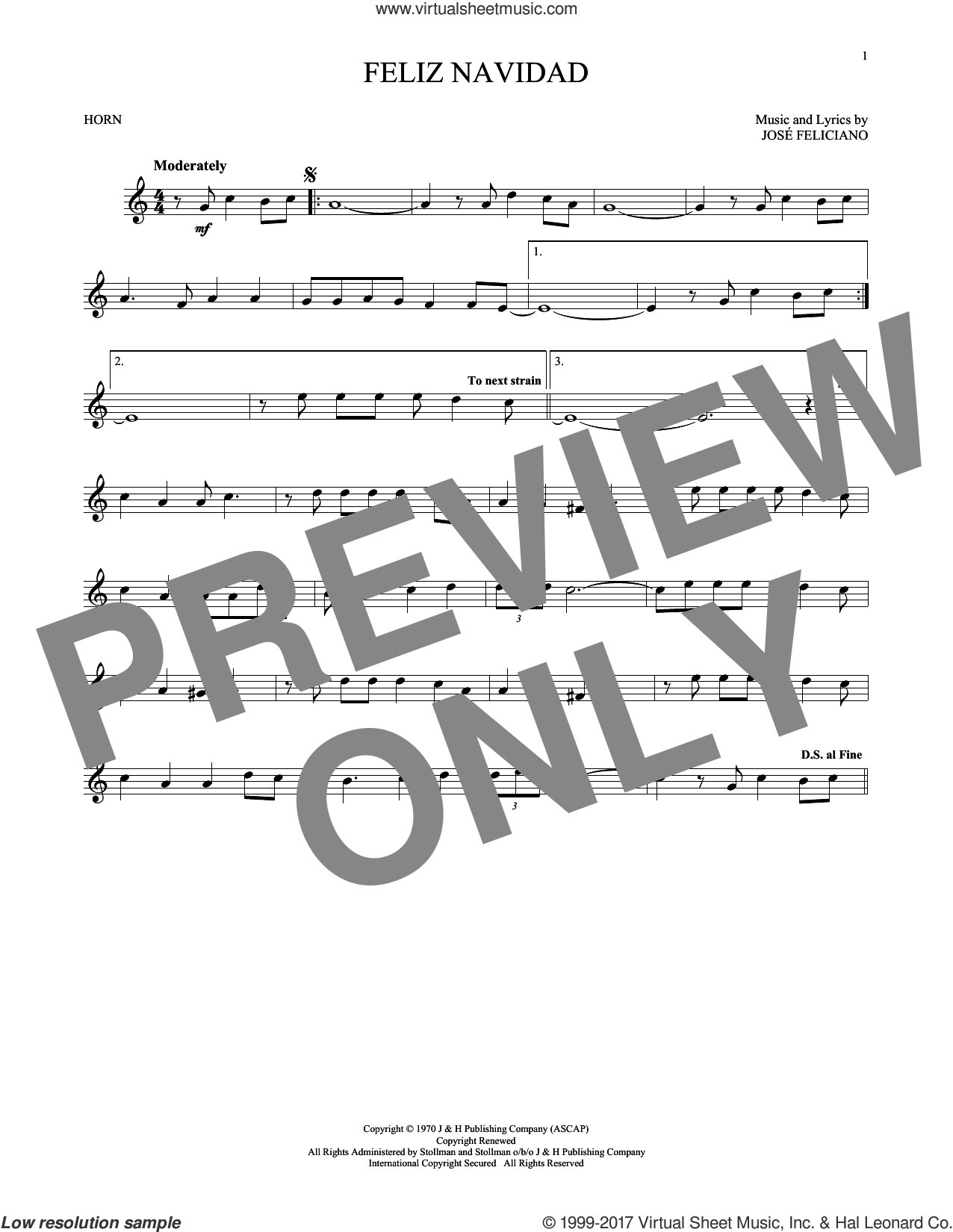 Feliz Navidad sheet music for horn solo by Jose Feliciano, intermediate skill level