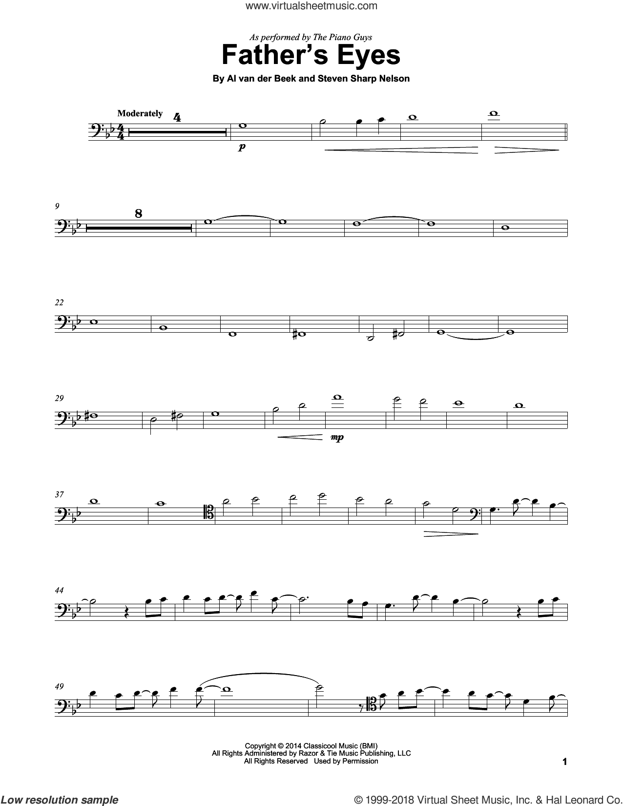 Father's Eyes sheet music for cello solo by The Piano Guys, Al van der Beek and Steven Sharp Nelson, intermediate skill level