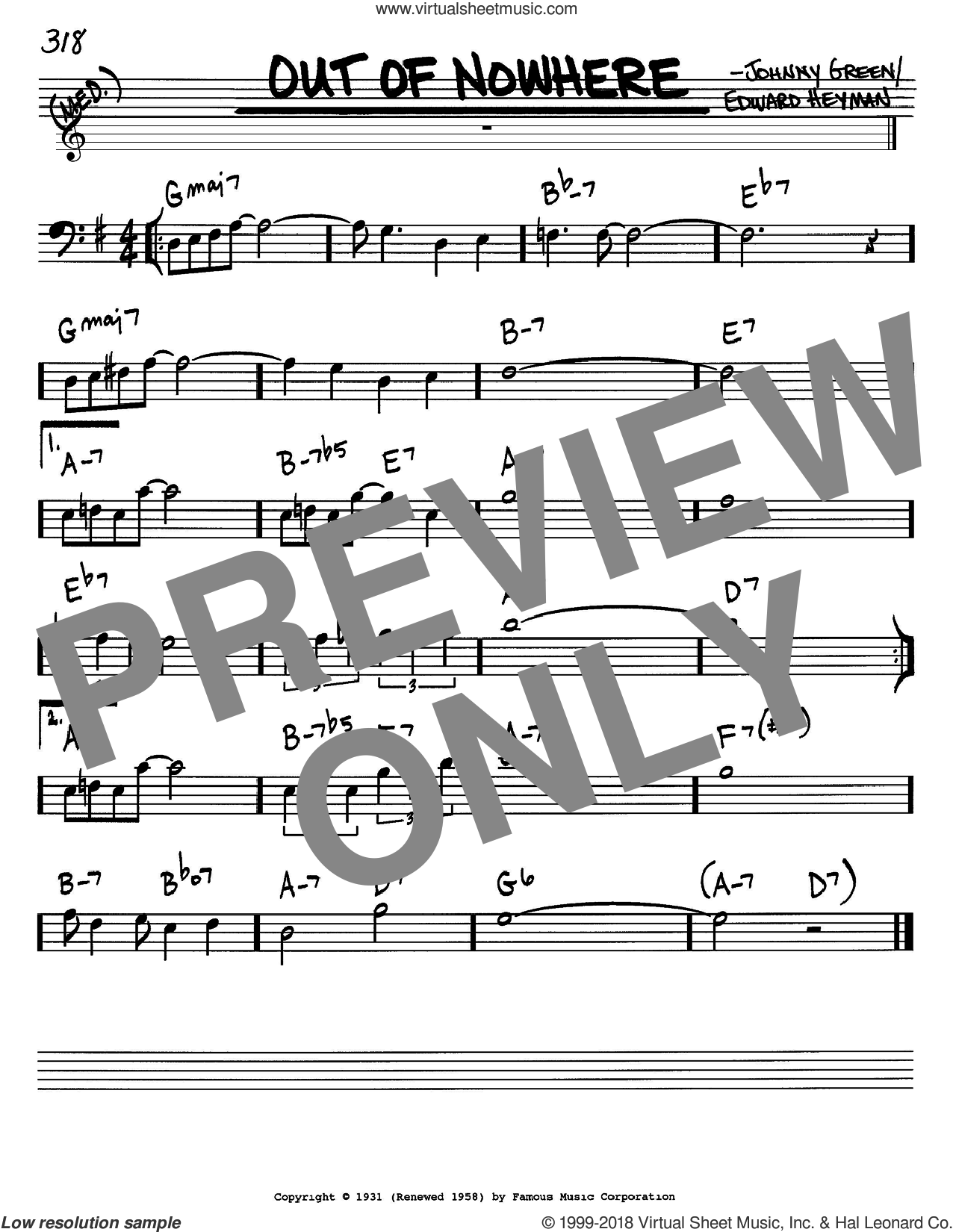 Out Of Nowhere sheet music for voice and other instruments (Bass Clef ) by Johnny Green and Edward Heyman. Score Image Preview.