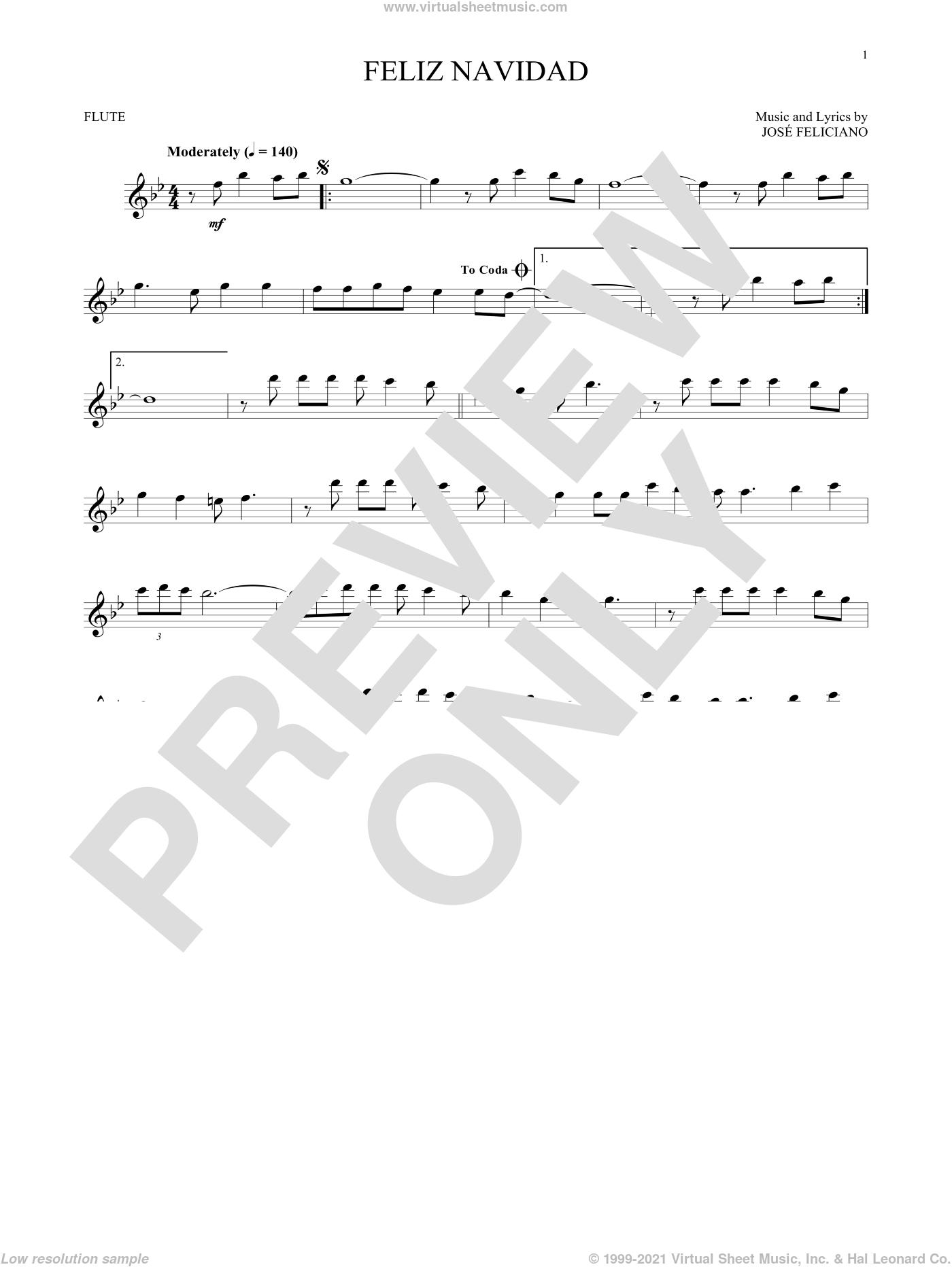Feliz Navidad sheet music for flute solo by Jose Feliciano, intermediate skill level