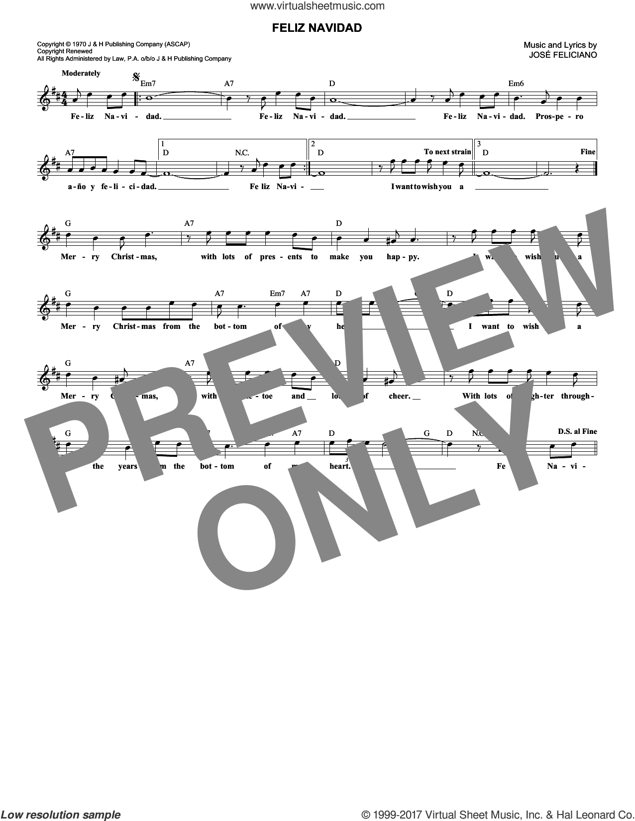 Feliz Navidad sheet music for voice and other instruments (fake book) by Jose Feliciano, intermediate skill level