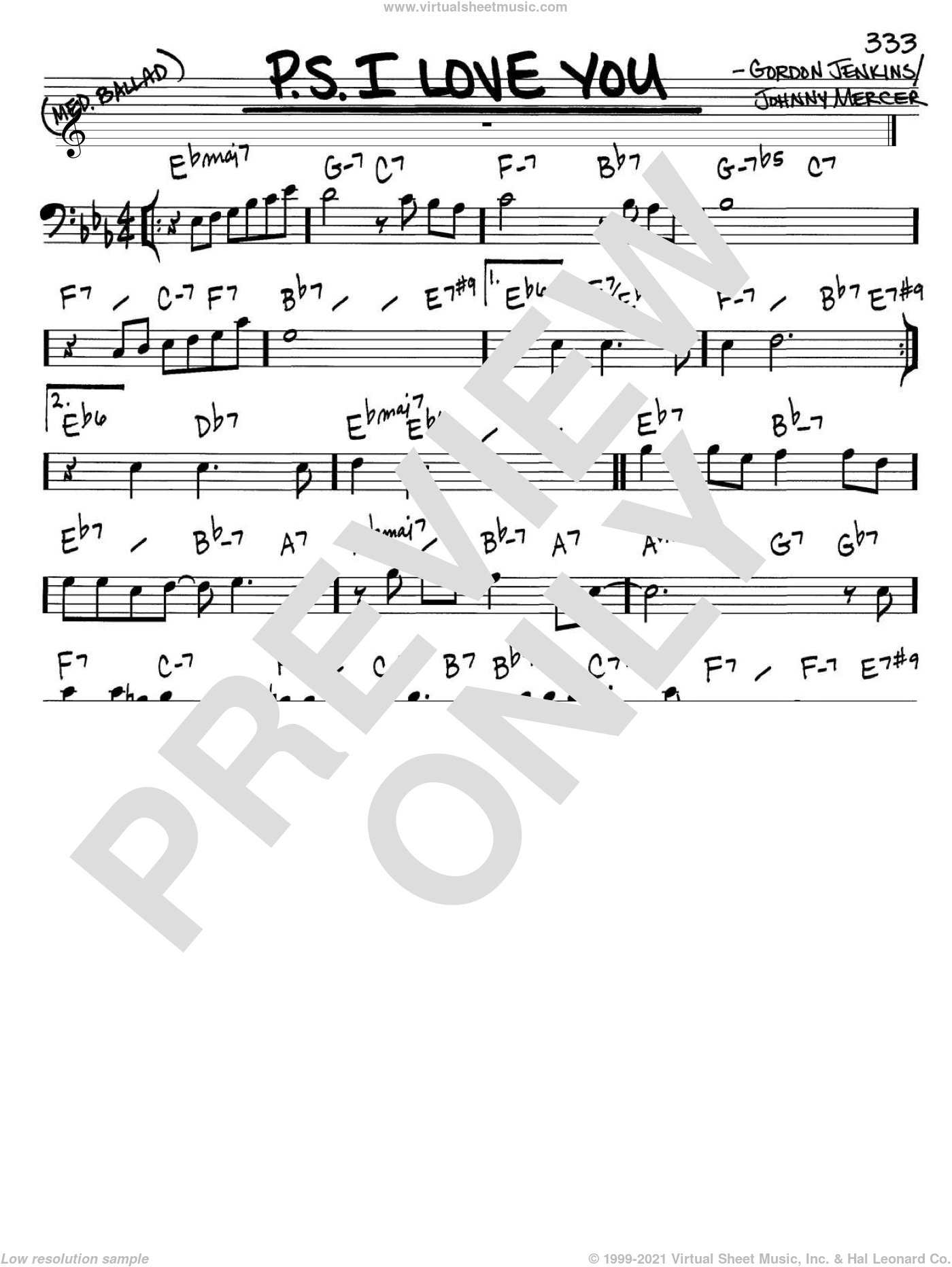 P.S. I Love You sheet music for voice and other instruments (Bass Clef ) by Johnny Mercer and Gordon Jenkins. Score Image Preview.