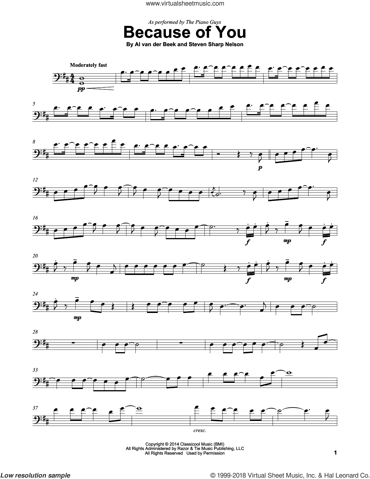 Because Of You sheet music for cello solo by The Piano Guys, Al van der Beek and Steven Sharp Nelson, classical score, intermediate