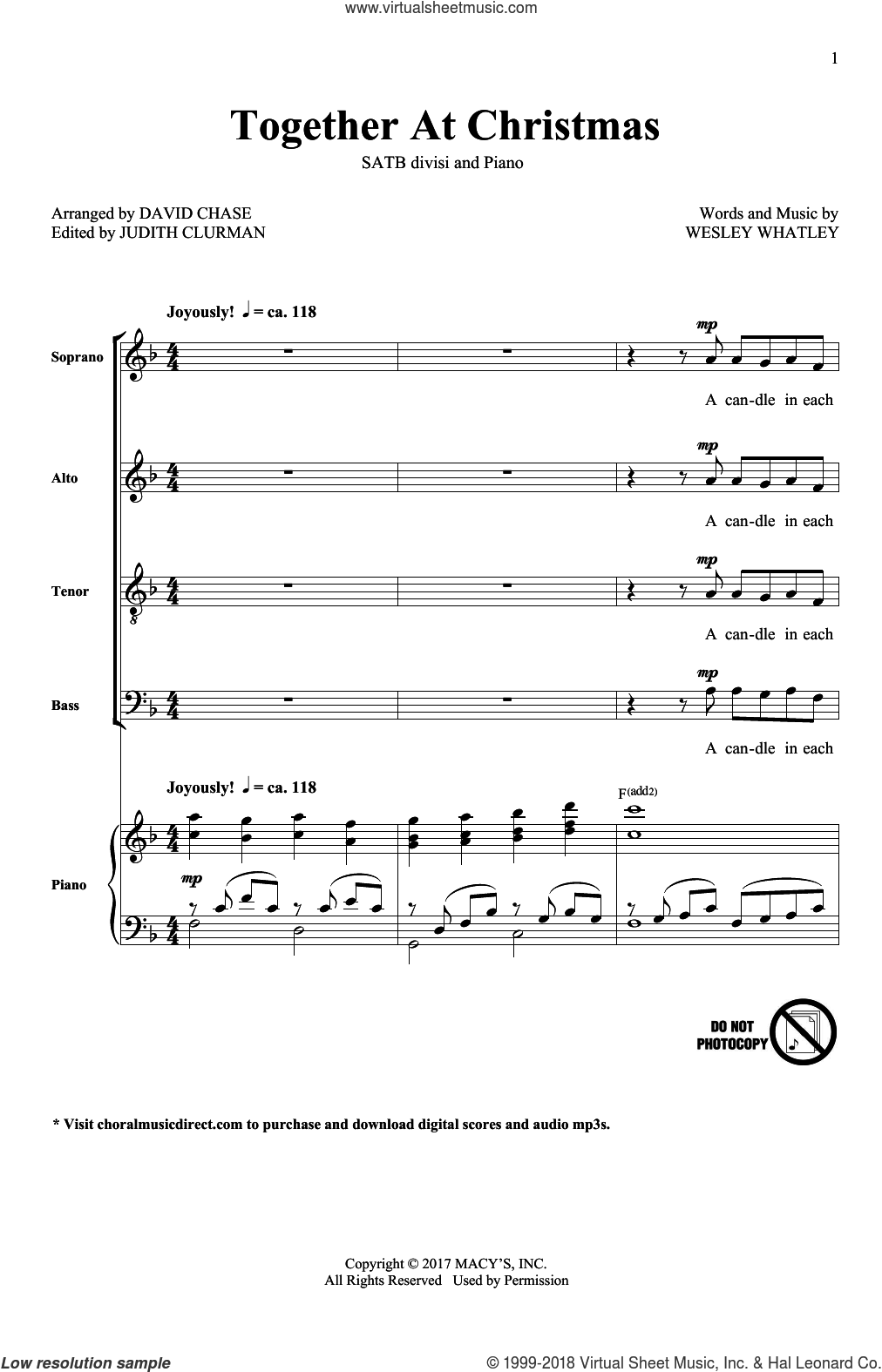Together At Christmas sheet music for choir (SATB: soprano, alto, tenor, bass) by David Chase and Wesley Whatley, intermediate skill level