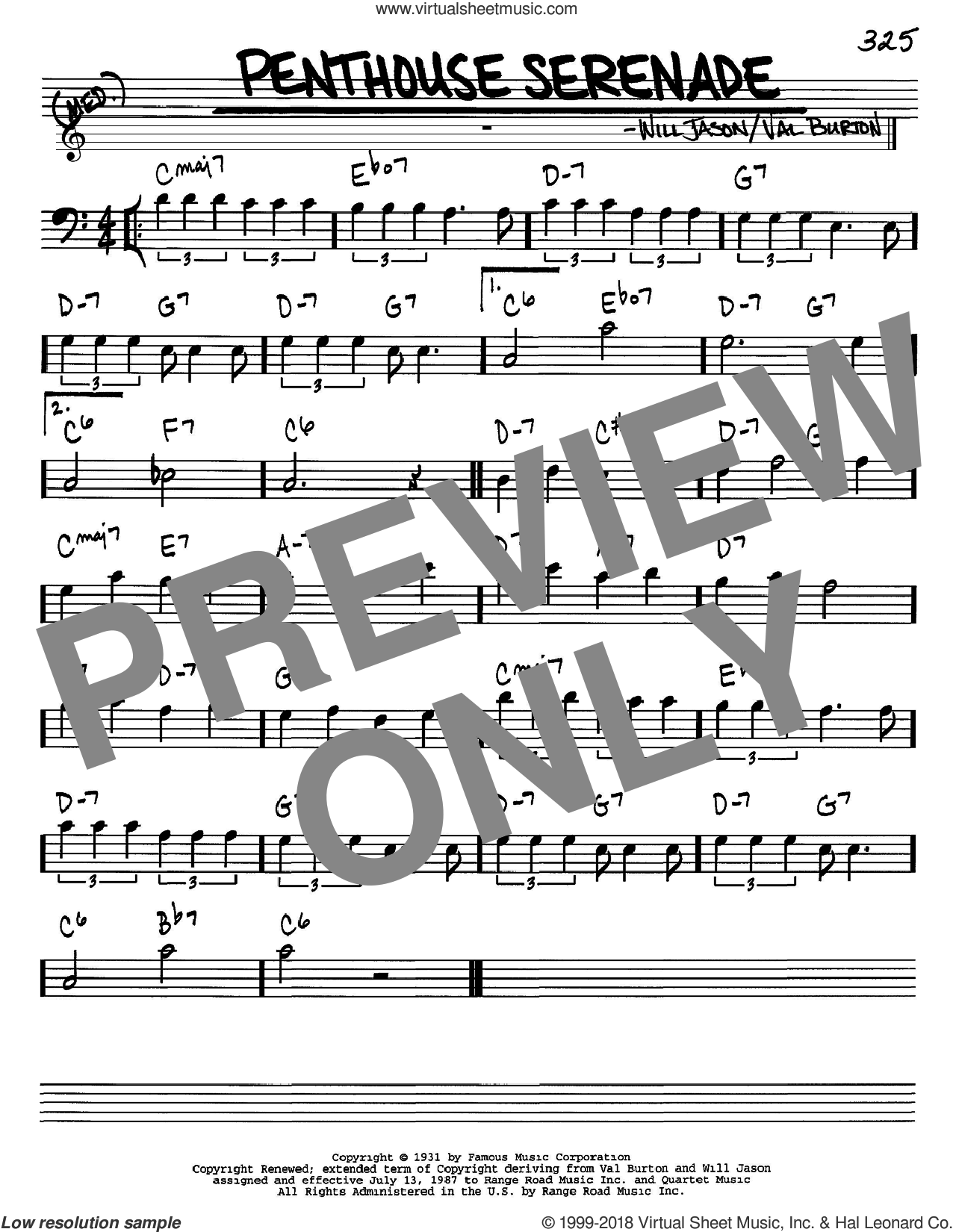 Penthouse Serenade sheet music for voice and other instruments (Bass Clef ) by Will Jason and Nat King Cole. Score Image Preview.