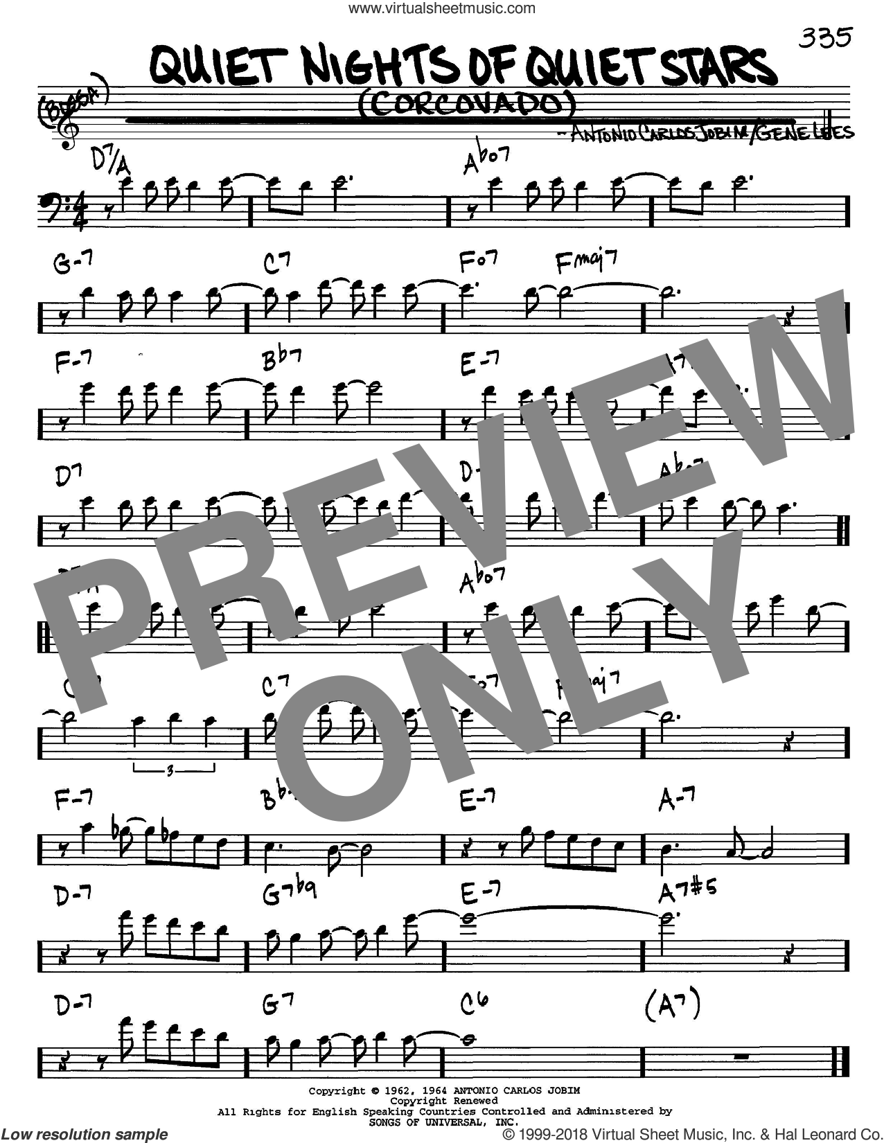 Quiet Nights Of Quiet Stars (Corcovado) sheet music for voice and other instruments (bass clef) by Antonio Carlos Jobim, Andy Williams and Eugene John Lees, intermediate. Score Image Preview.
