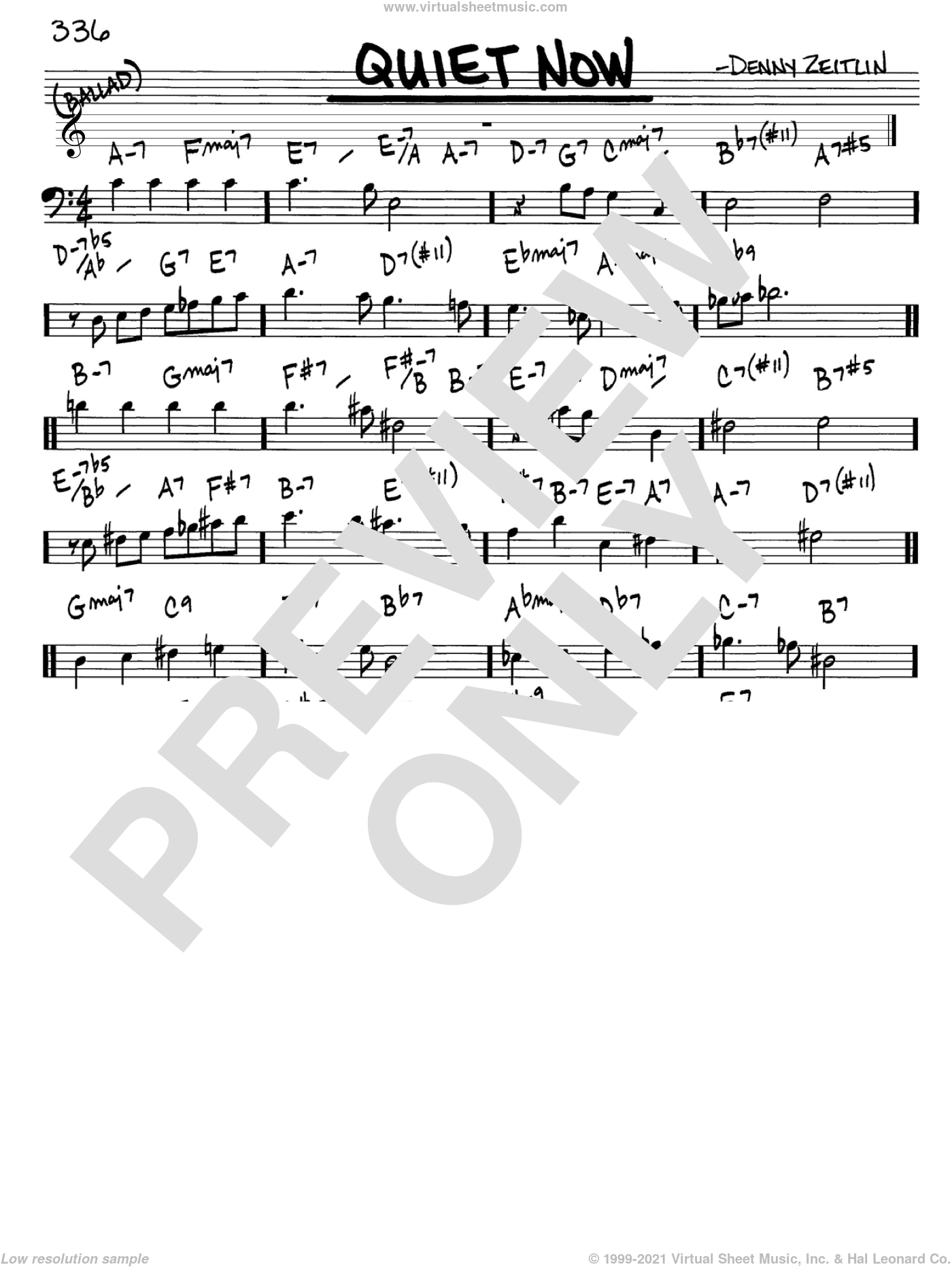 Quiet Now sheet music for voice and other instruments (Bass Clef ) by Denny Zeitlin, intermediate voice. Score Image Preview.