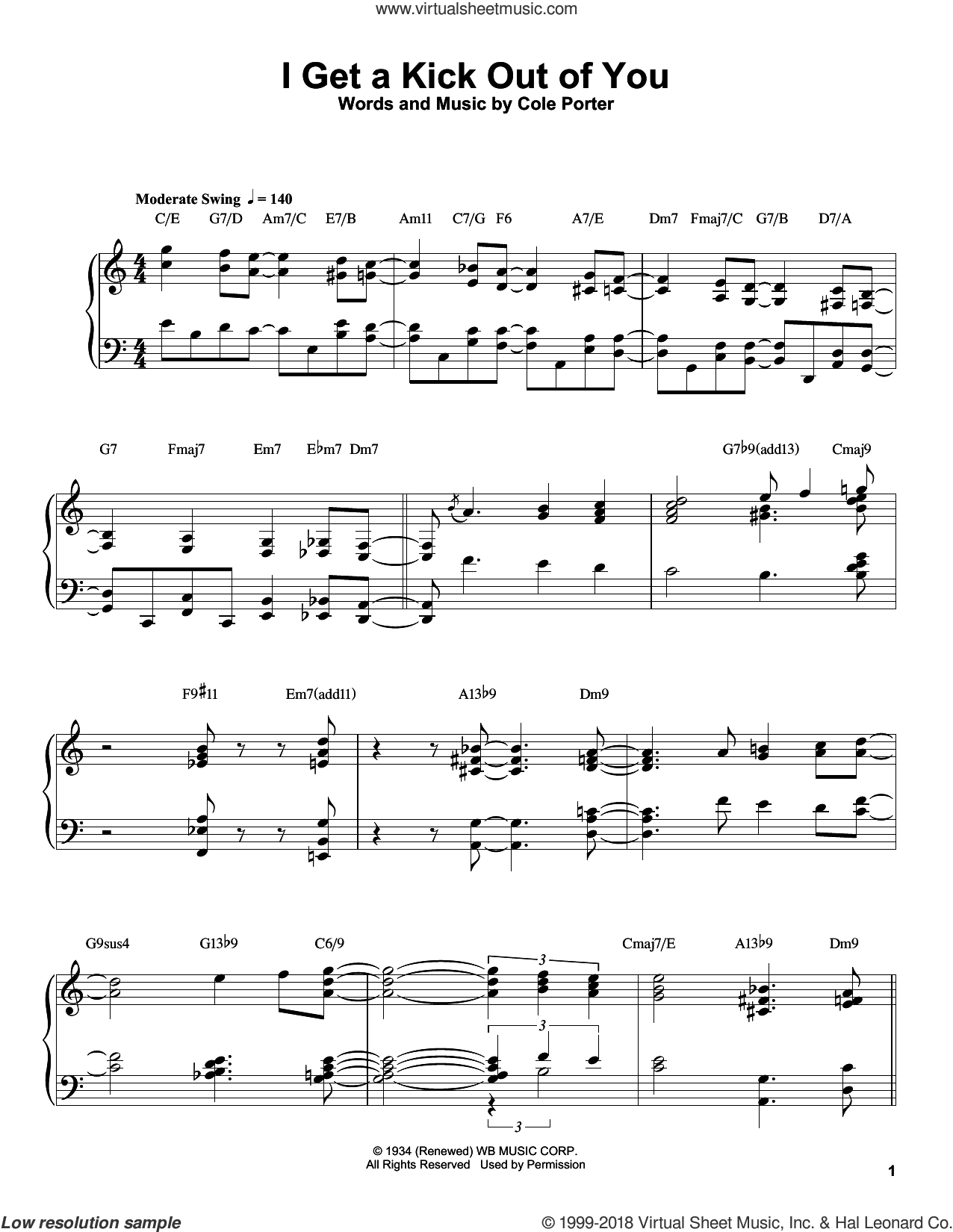 I Get A Kick Out Of You sheet music for piano solo (transcription) by Oscar Peterson, Frank Sinatra and Cole Porter, intermediate piano (transcription)