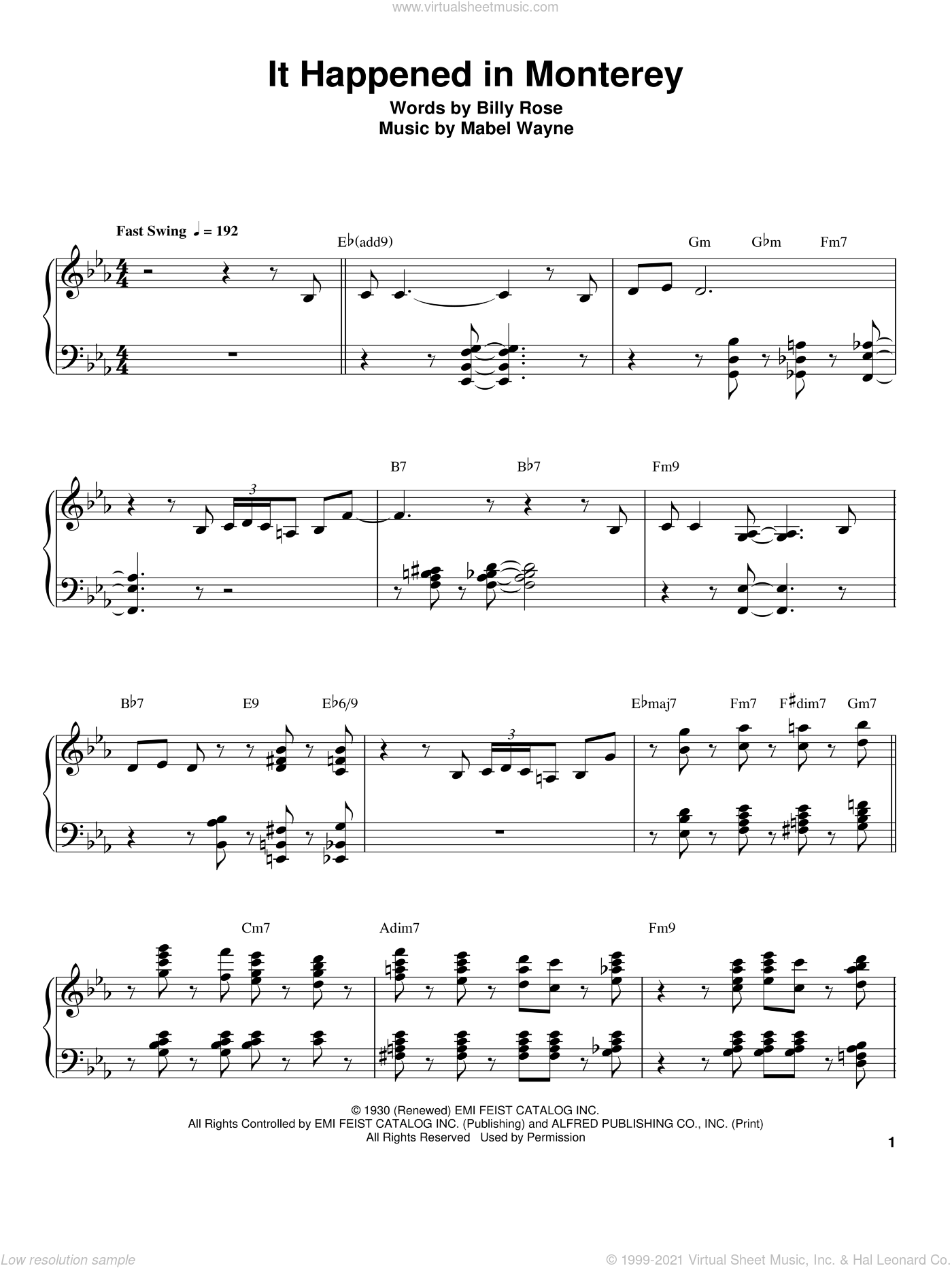 It Happened In Monterey sheet music for piano solo (transcription) by Oscar Peterson, Billy Rose and Mabel Wayne, intermediate piano (transcription)