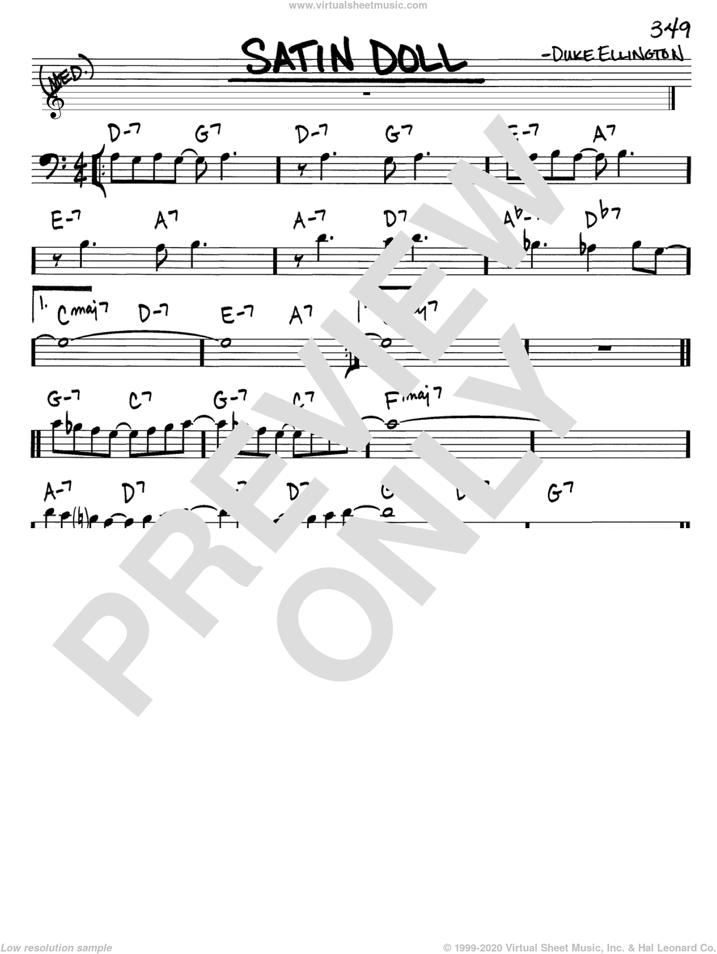 Satin Doll sheet music for voice and other instruments (Bass Clef ) by Duke Ellington, Billy Strayhorn and Johnny Mercer, intermediate voice. Score Image Preview.