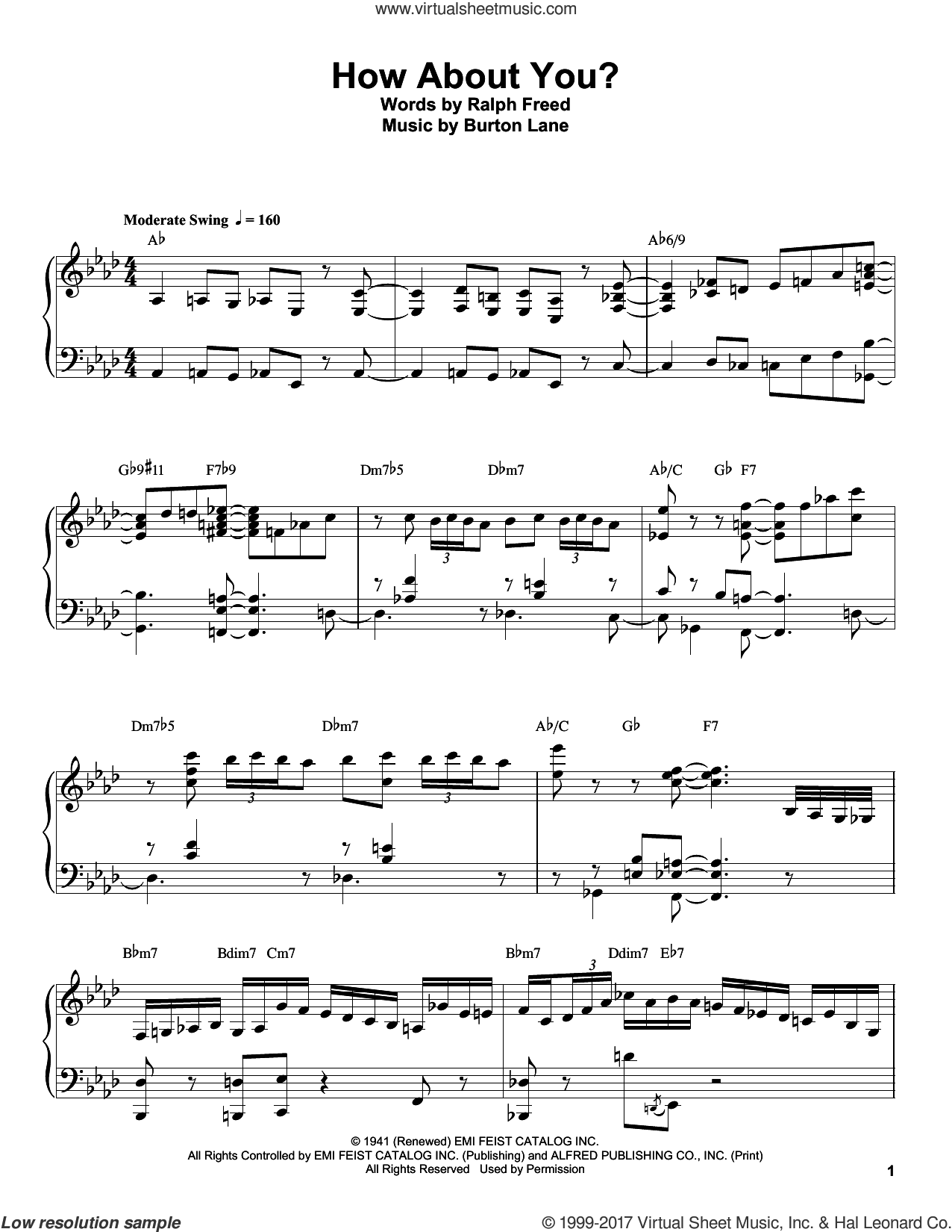 How About You? sheet music for piano solo (transcription) by Oscar Peterson, Burton Lane and Ralph Freed, intermediate piano (transcription)