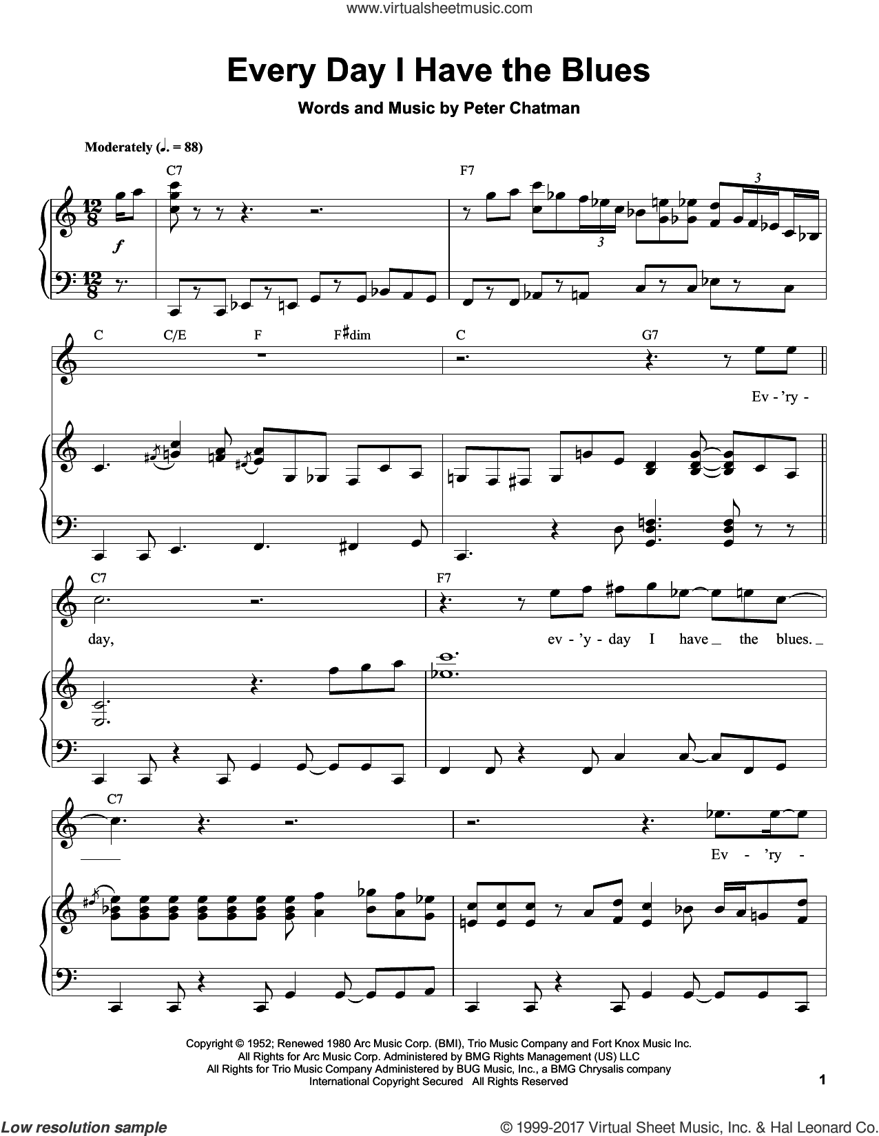 Every Day I Have The Blues sheet music for piano solo (transcription) by B.B. King and Peter Chatman, intermediate piano (transcription)