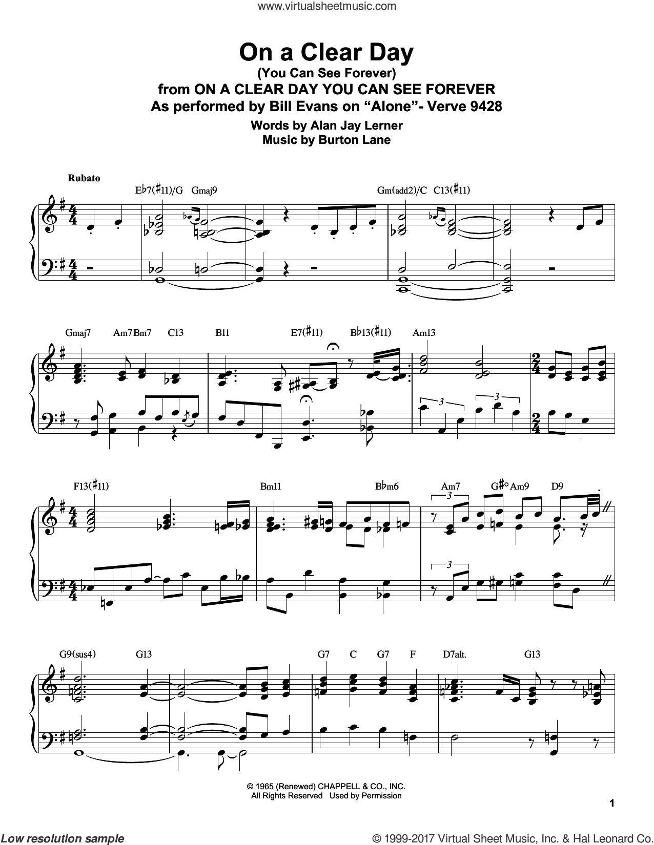 Evans - On A Clear Day (You Can See Forever) sheet music for piano solo  (transcription)
