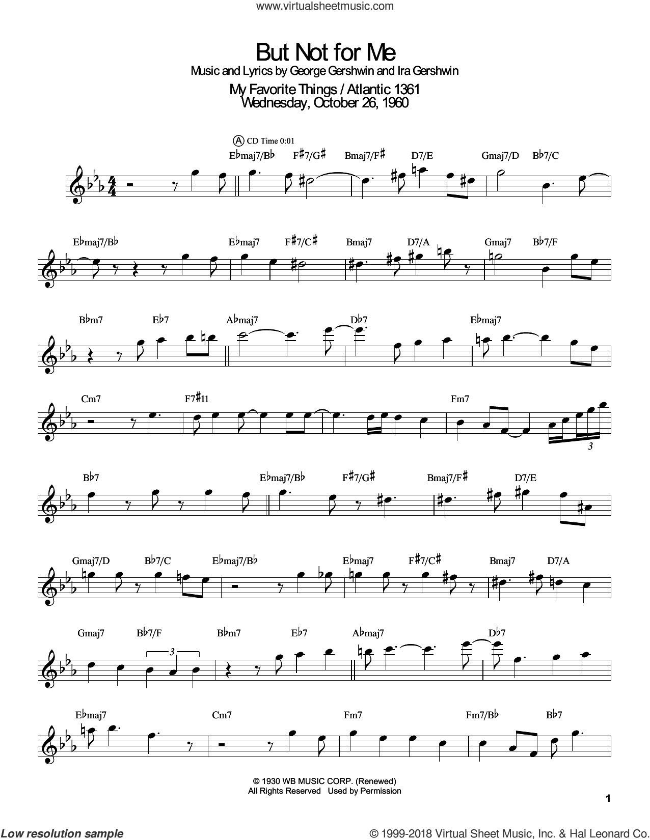 But Not For Me sheet music for tenor saxophone solo (transcription) by John Coltrane, Ketty Lester, Masaya Yamaguchi, George Gershwin and Ira Gershwin, intermediate tenor saxophone (transcription)