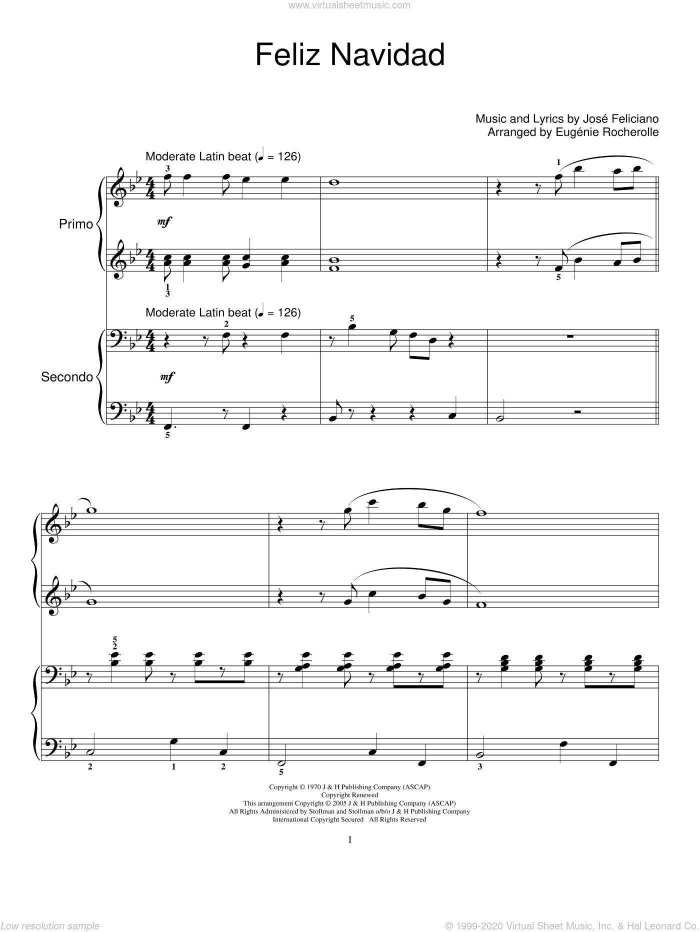 Feliz Navidad sheet music for piano four hands (duets) by Jose Feliciano, Clay Walker and Eugenie Rocherolle, intermediate. Score Image Preview.