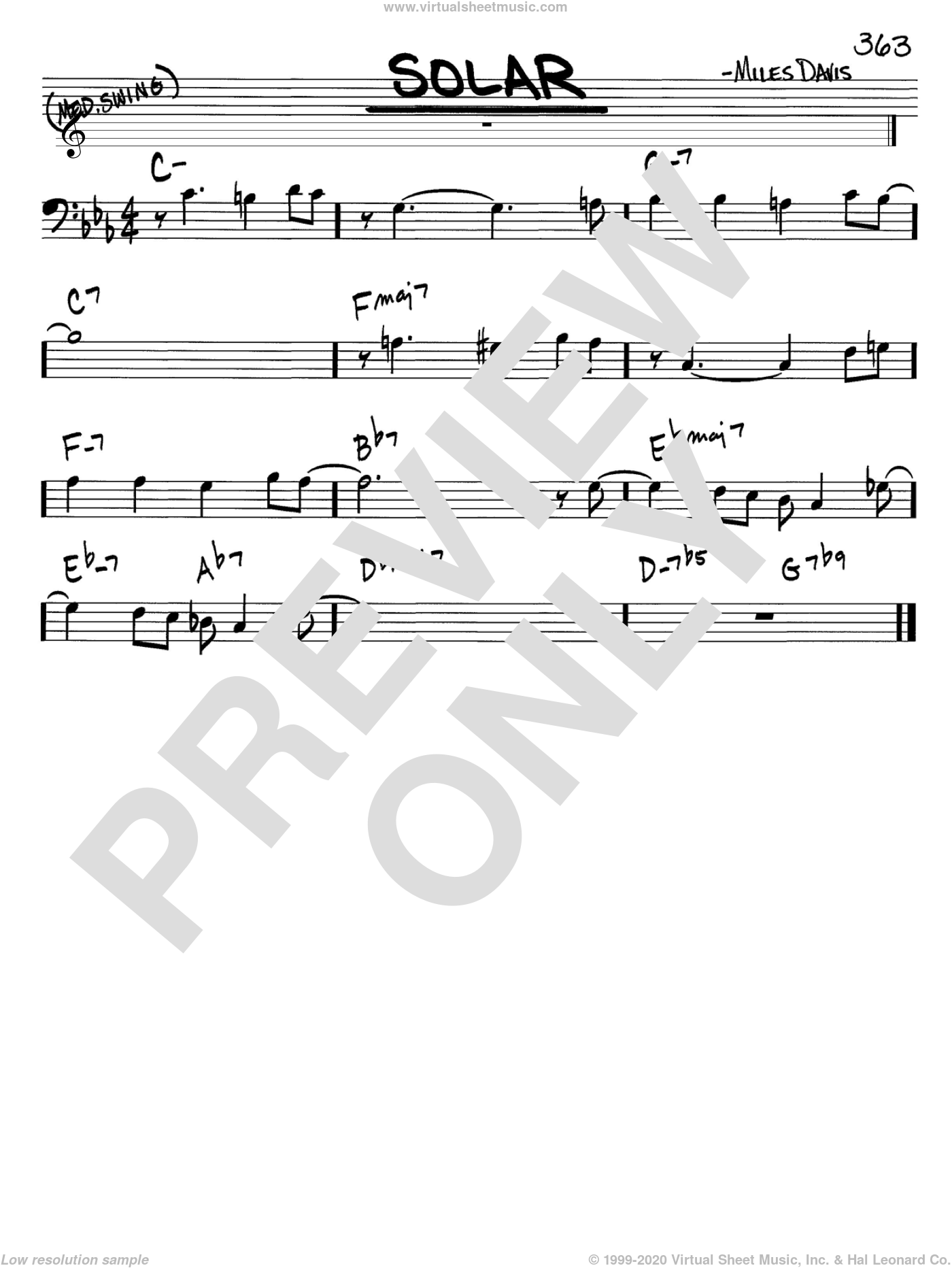 Solar sheet music for voice and other instruments (Bass Clef ) by Miles Davis, intermediate voice. Score Image Preview.